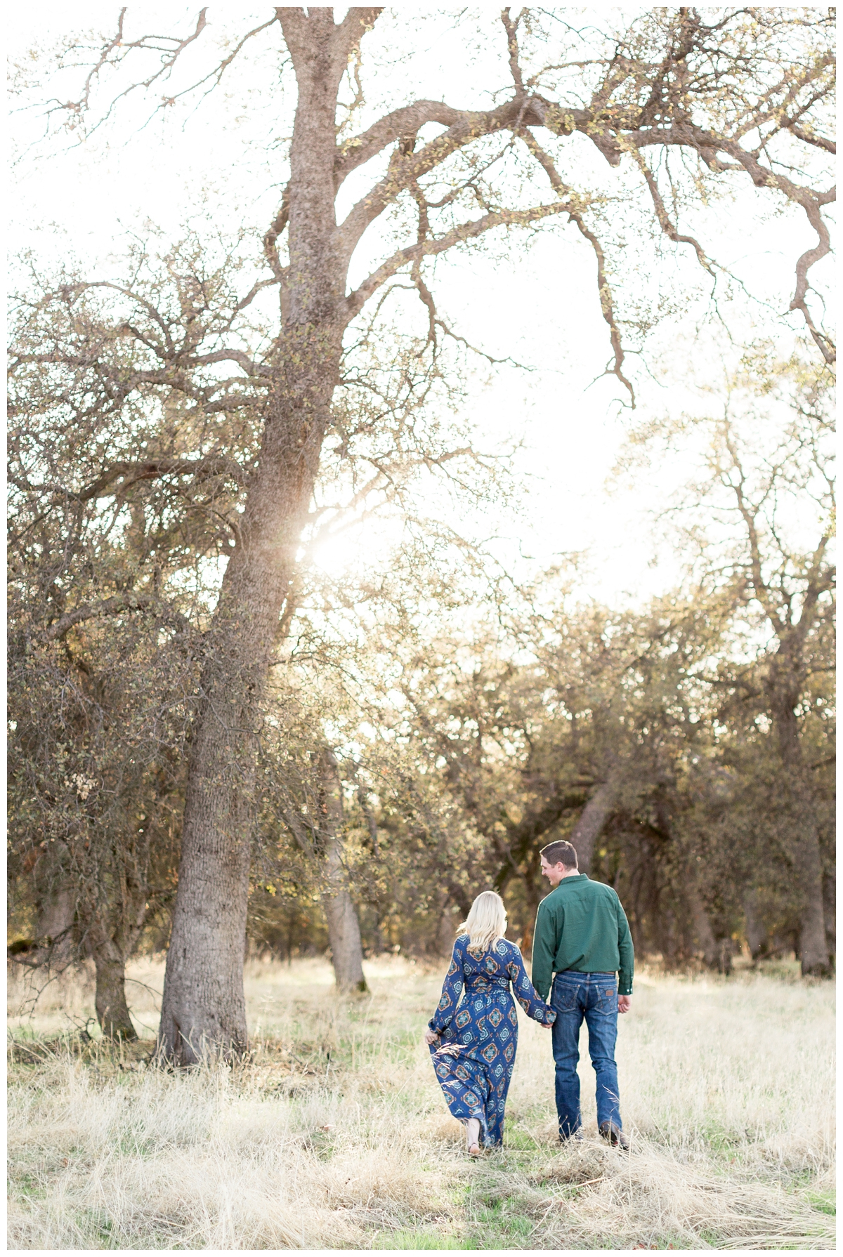 Northern California wedding photographer captures an engaged couple at sunset in Chico California