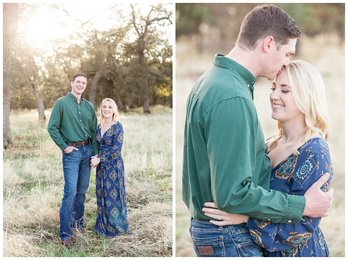 super tall guy takes photos with his short fiancé in Upper Bidwell Park in the Fall time of year