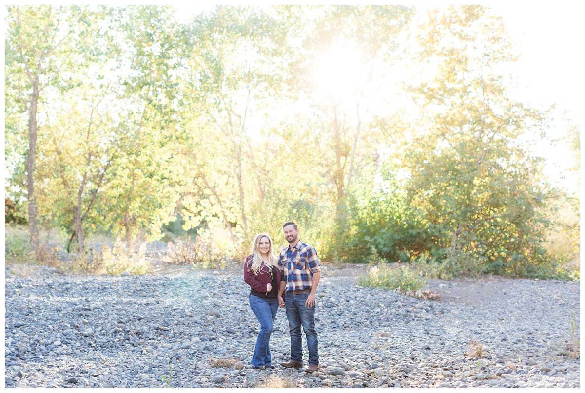 engagement photos taken at sunset in Upper Bidwell Park