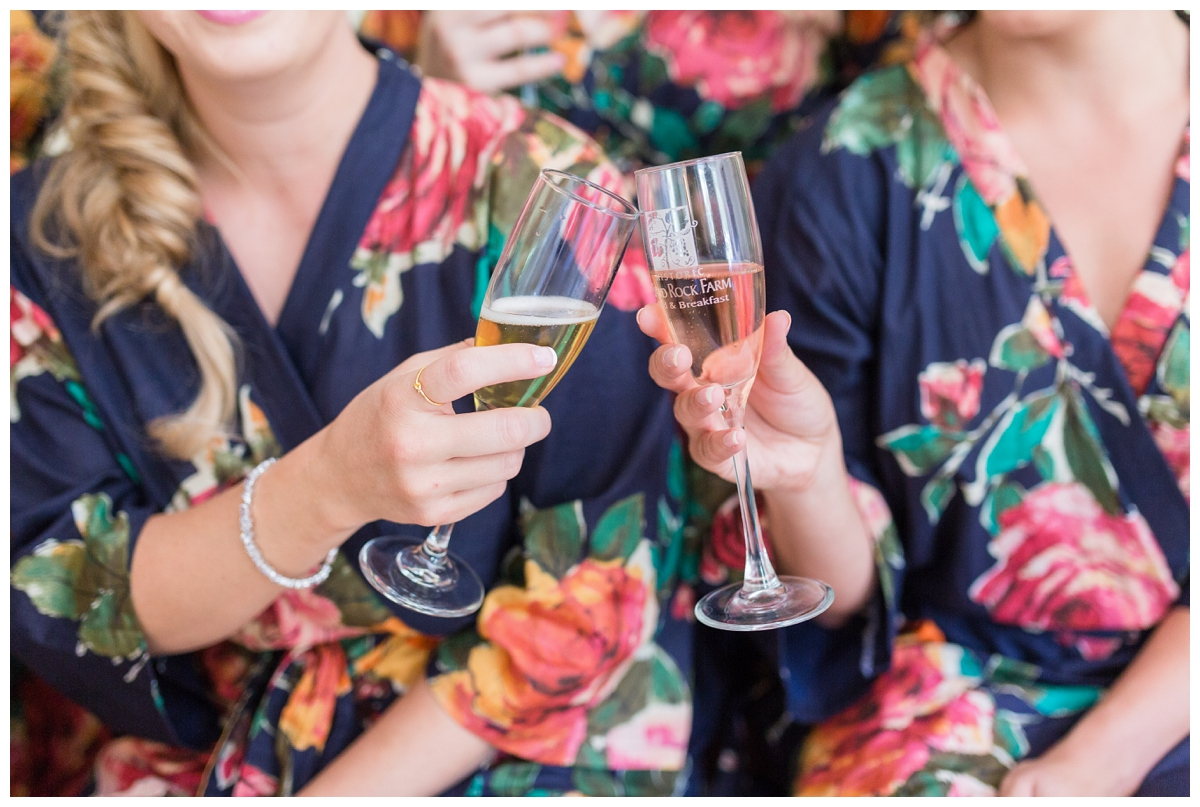 bridesmaids in a floral robe