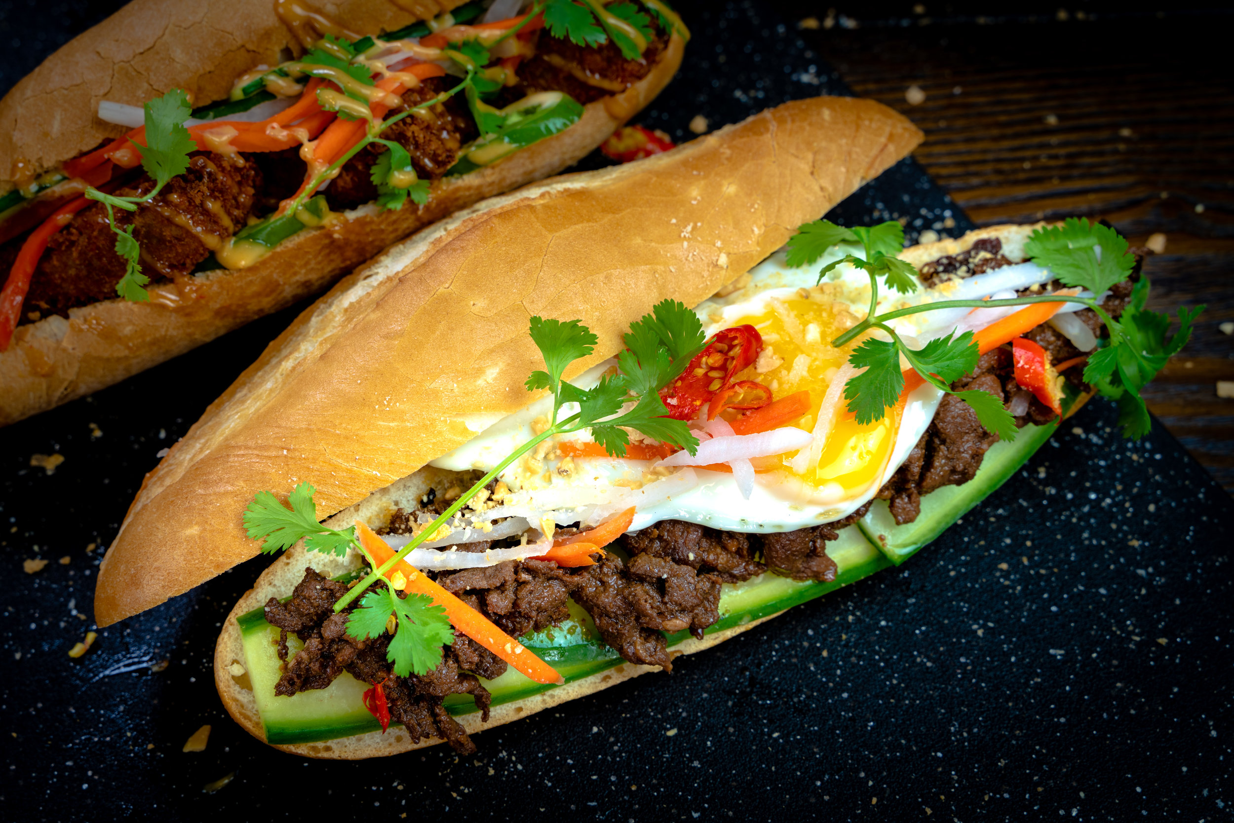 Teriyaki Steak Bánh Mì with Sunny Side Egg