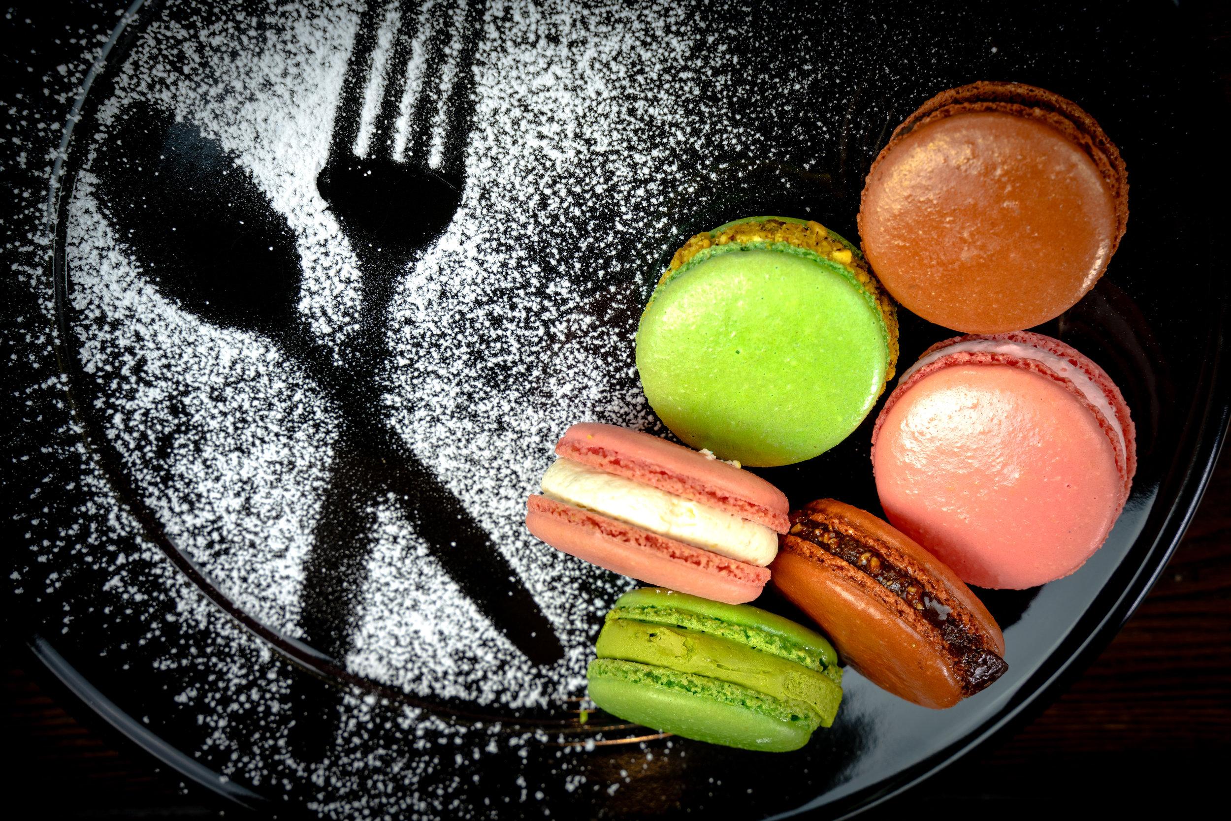 Macarons - Green Tea Matcha, Dark Chocolate & Lychee Rose