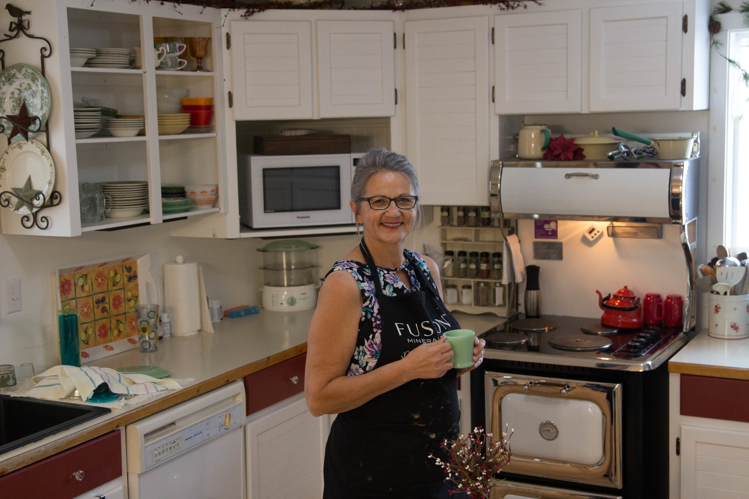 Suzanne of House of Hope in her vintage kitchen in Vanderhoof, BC
