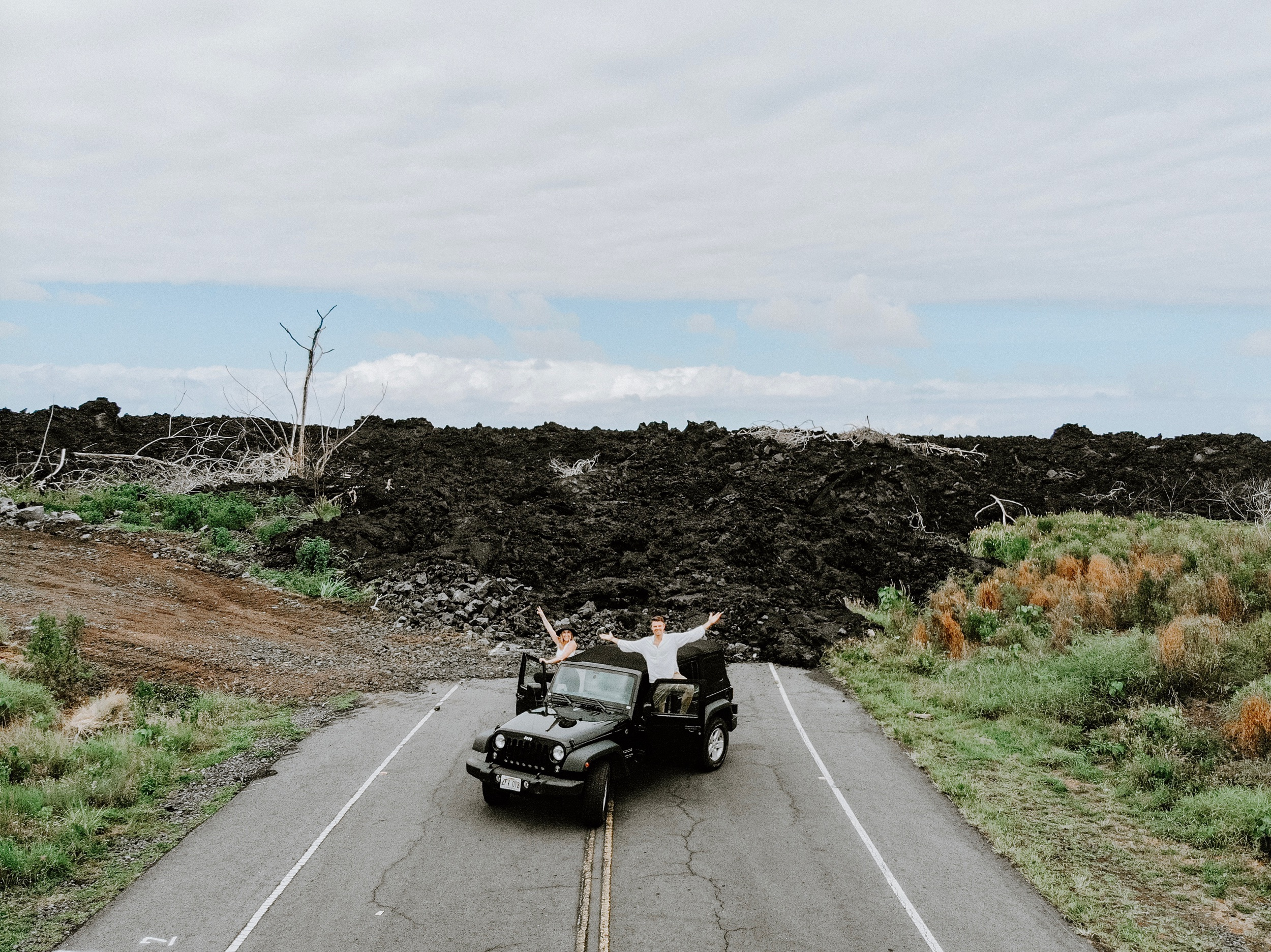 The road blocked by lava in Hilo, Hawaii