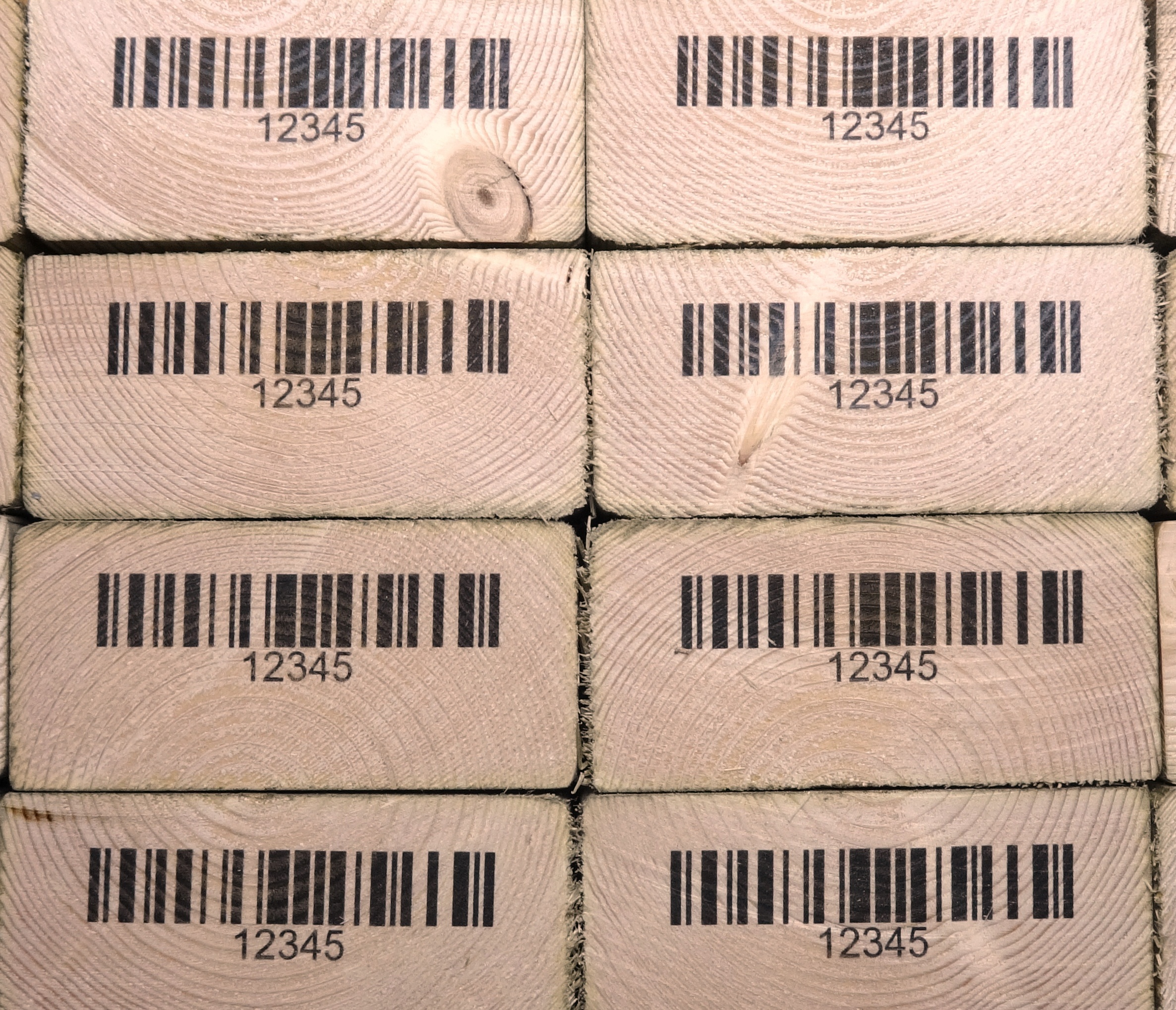 Barcodes on the end stamp -