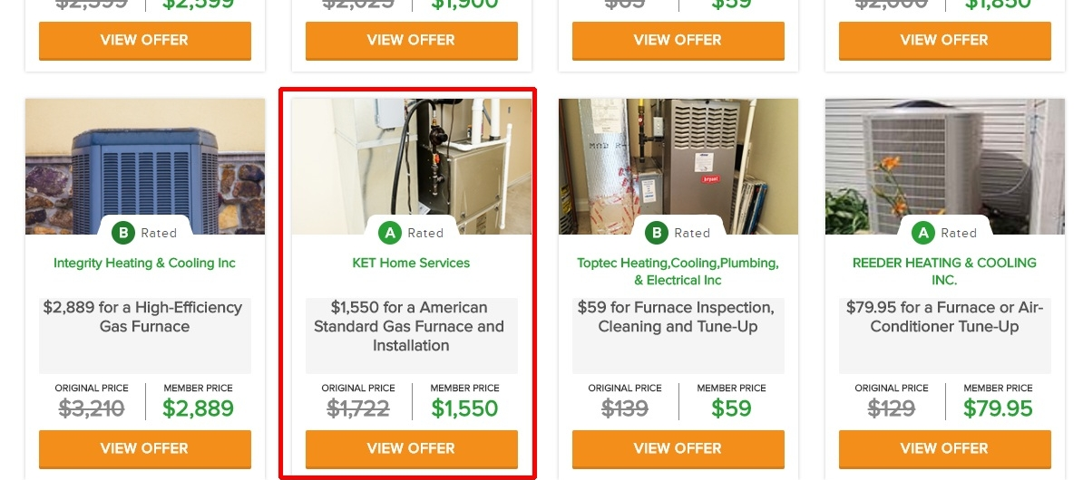 Got a furnace installed from an A-rated provider on Angie's List for less than half a normal quote.