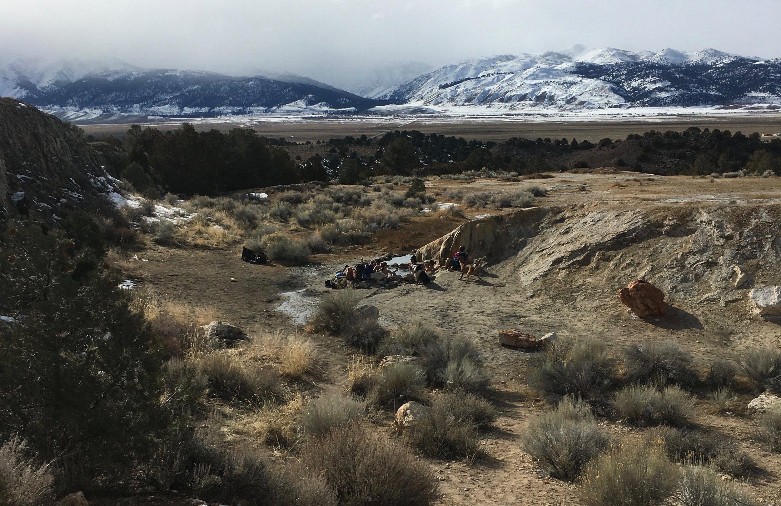 Bridgeport Hot Springs-looking at the socked in Eastern Sierra.