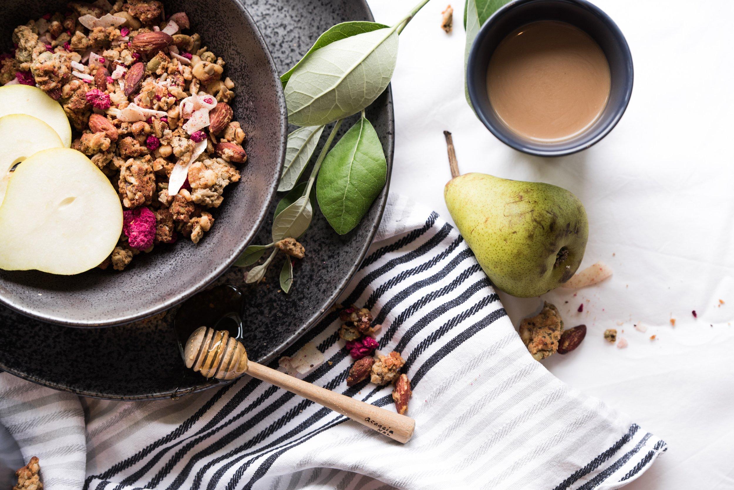 Artisanal Granola   Features: Gluten-free / Vegan / Plantiful  Chocolate Coconut / Gingerbread / Lavender / Chai / Almond Turmeric
