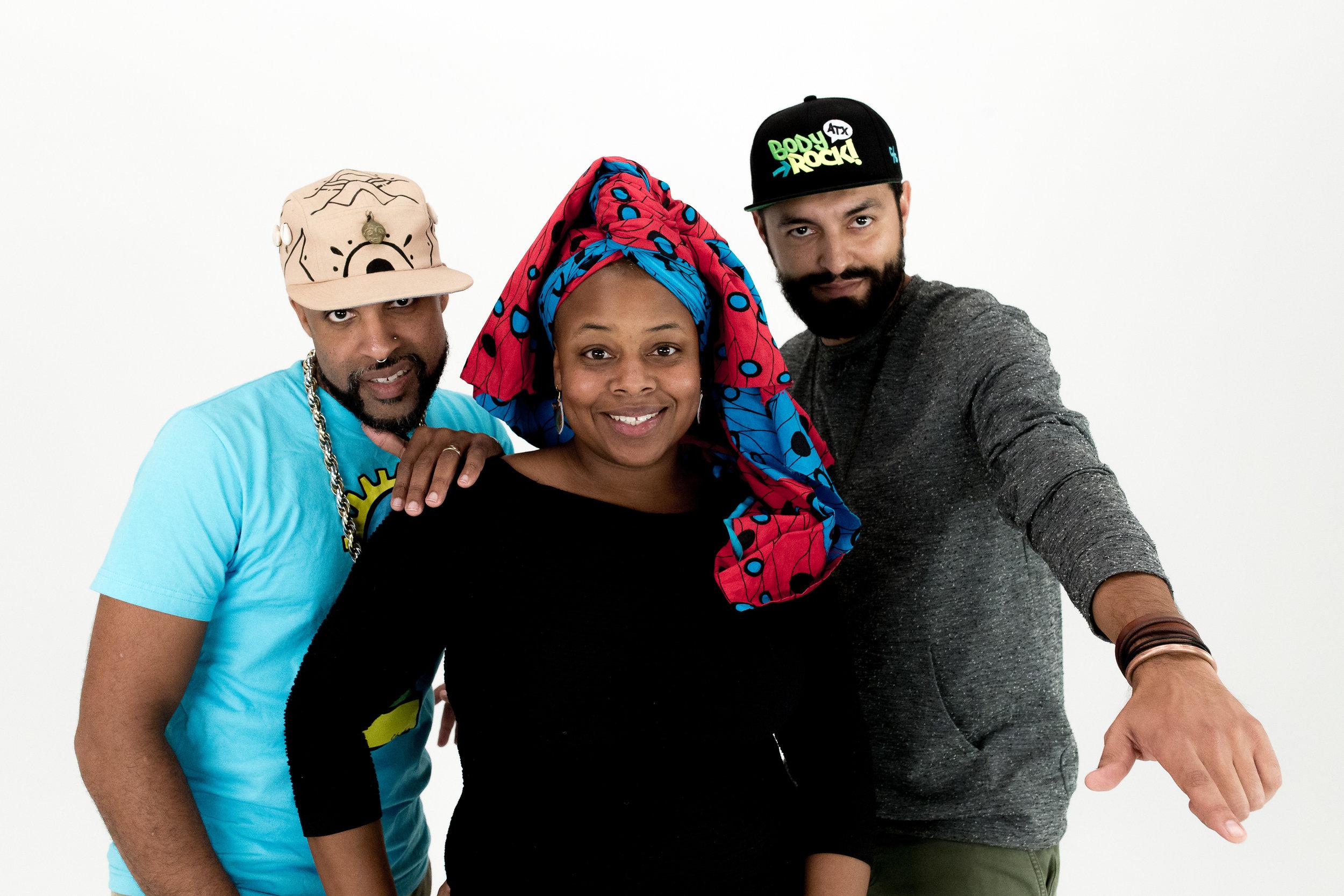 Chaka Mpeanaji, Qi Dada, and Chorizo Funk. Pic by Robert Hein