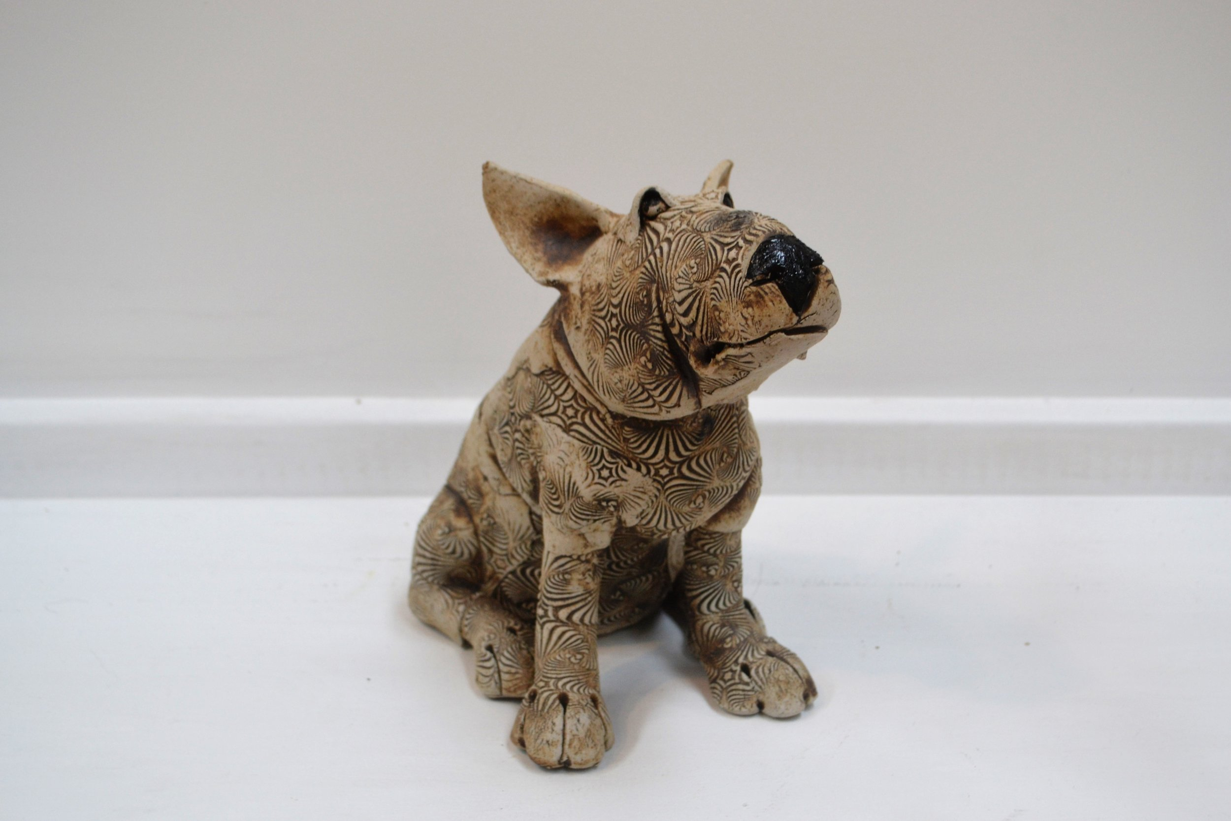 English Bull Terrier  Fiona Tunnicliffe, hand formed ceramic sculpture, 220mm height  sold
