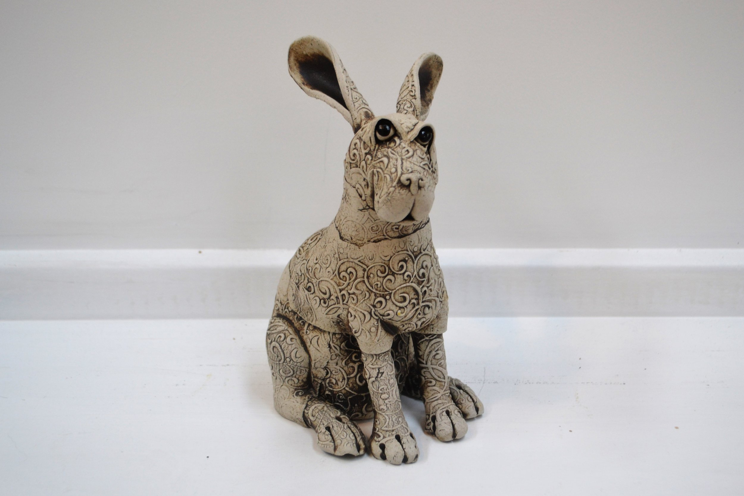 Small Pattern Rabbit  Fiona Tunnicliffe, hand formed ceramic sculpture, 230mm height  sold