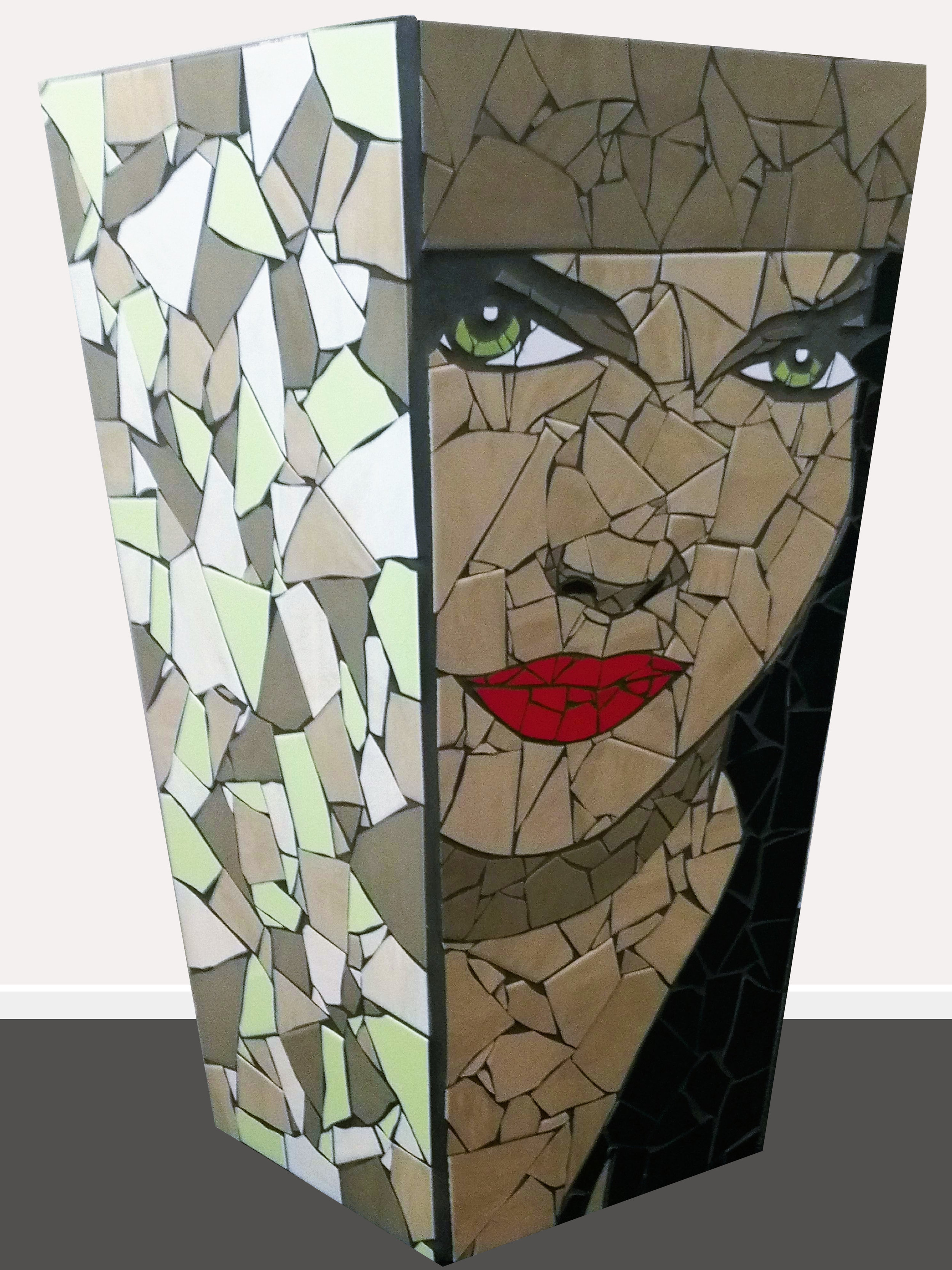 Elena  Danielle Fernandez, pop art mosaic planter, indoor/outdoor (drainage hole at bottom), 815mm x 470mm. Elena comes from Catherina Zeta Jones' character in 'The Mask of Zorro'.  $3,650.00