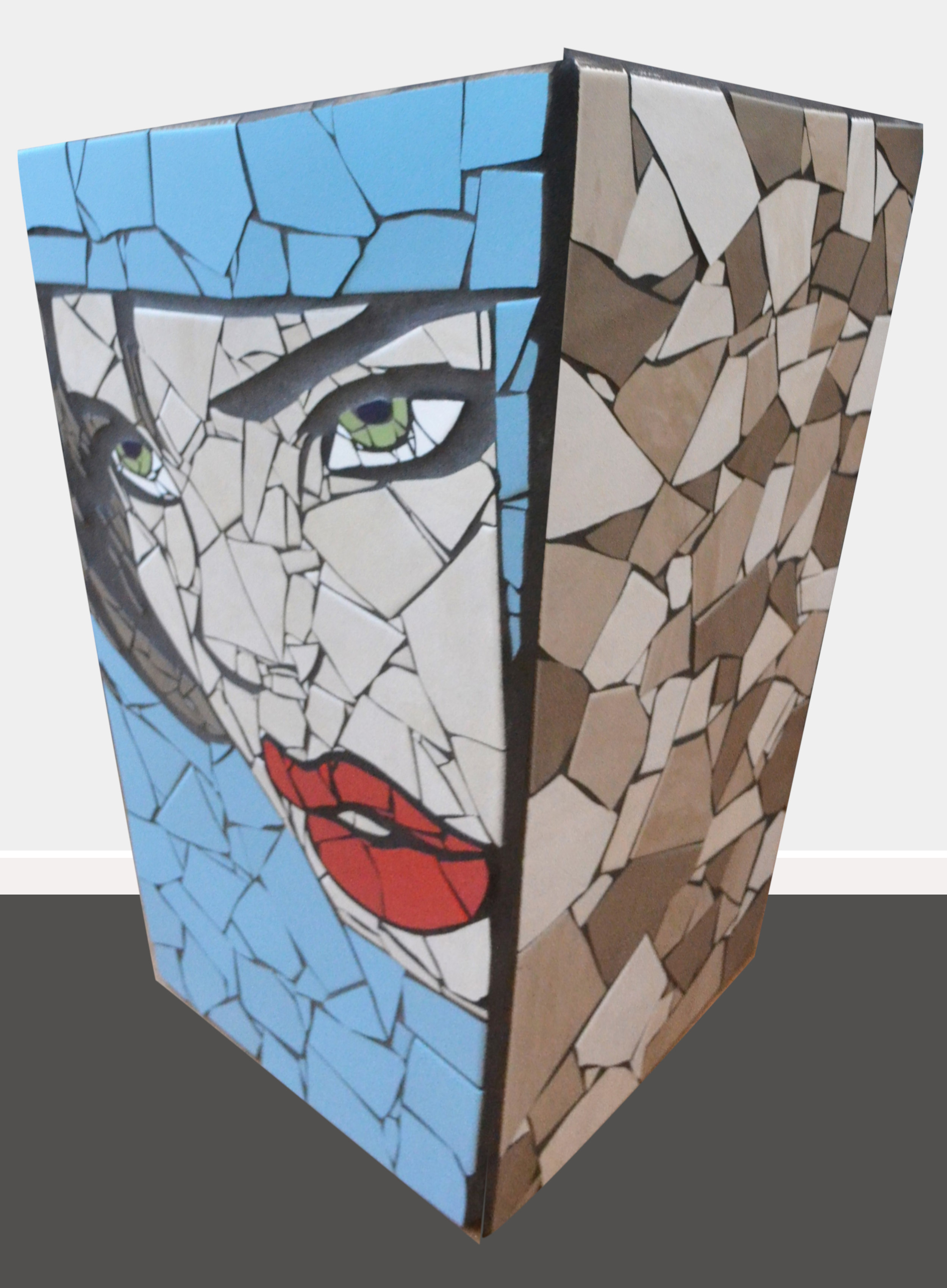 Amelia  Danielle Fernandez, pop art mosaic planter, indoor/outdoor (drainage hole at bottom), 630mm x 430mm. Amelia is the detective in the movie 'The Bone Collector', played by Angelina Jolie.   $2,750.00