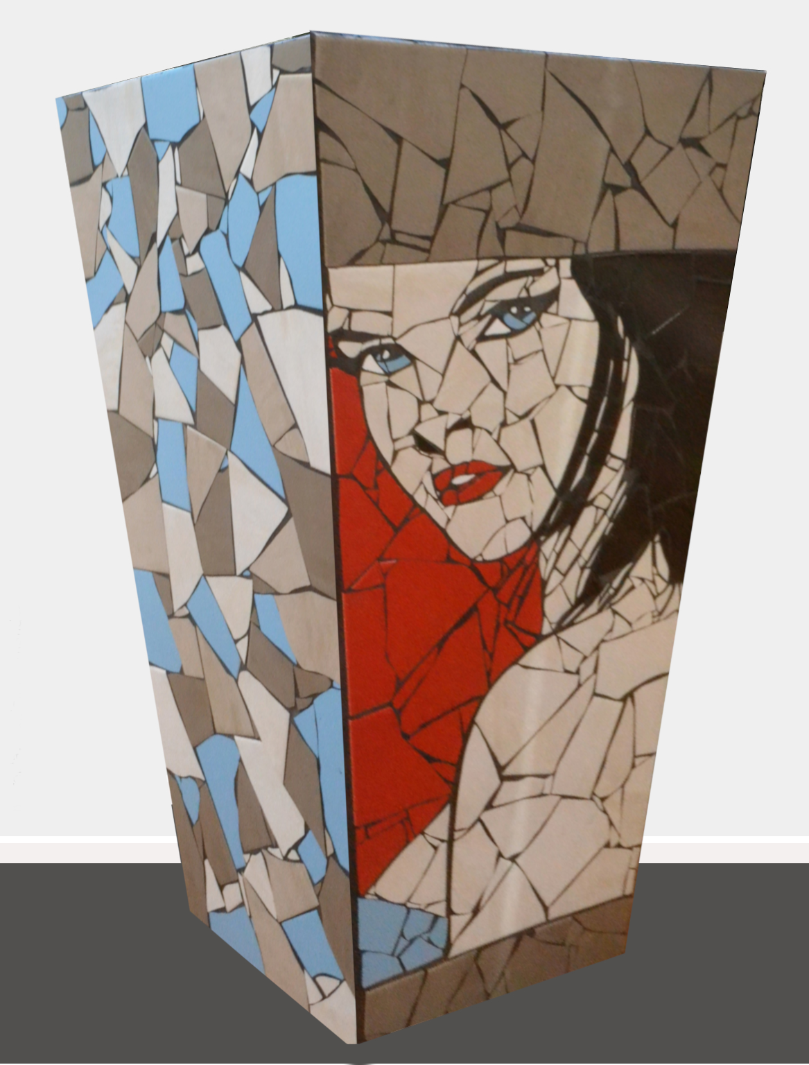 Megan  Danielle Fernandez, pop art mosaic planter, indoor/outdoor (drainage hole at bottom), 815mm x 470mm. Megan is based off the classical 'sassy Irish woman'.  $3,650.00