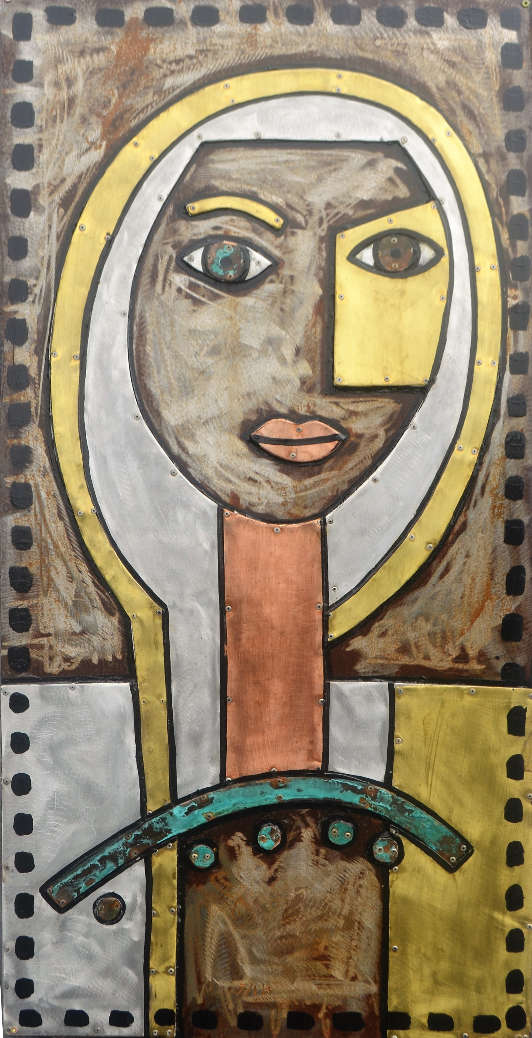 Lake Lady  Mark Dimock, mixed medias on steel, hanging wall sculpture indoor/outdoor  $2,560.00