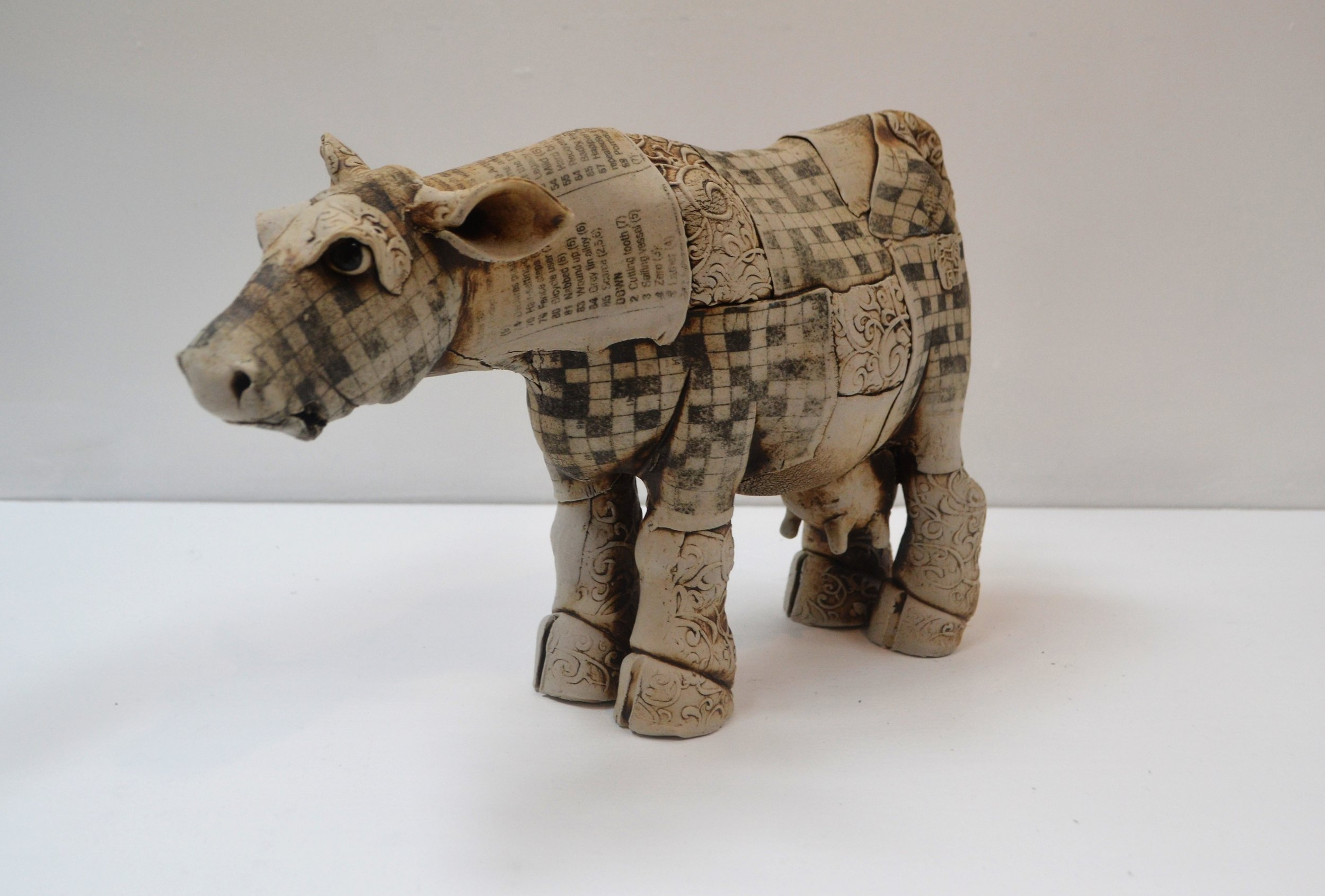 Printed Cow II  Fiona Tunnicliffe, hand formed ceramic sculpture, 205mm height  sold