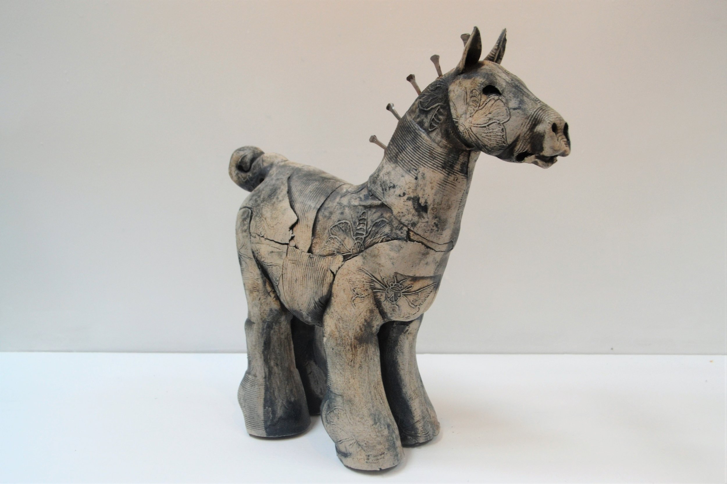 Blue Horse  Fiona Tunnicliffe, hand formed ceramic sculpture, 340mm height  sold