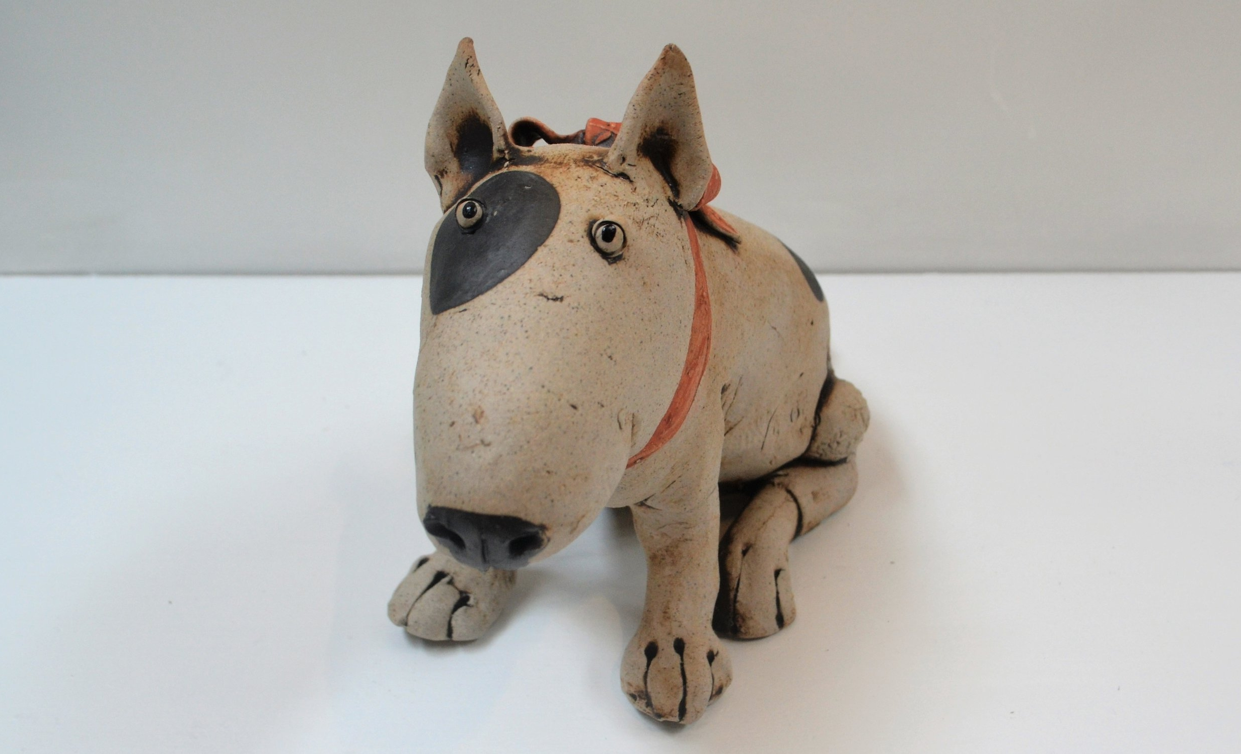 Bull Terrier III  Fiona Tunnicliffe, hand formed ceramic sculpture, 220mm height  sold