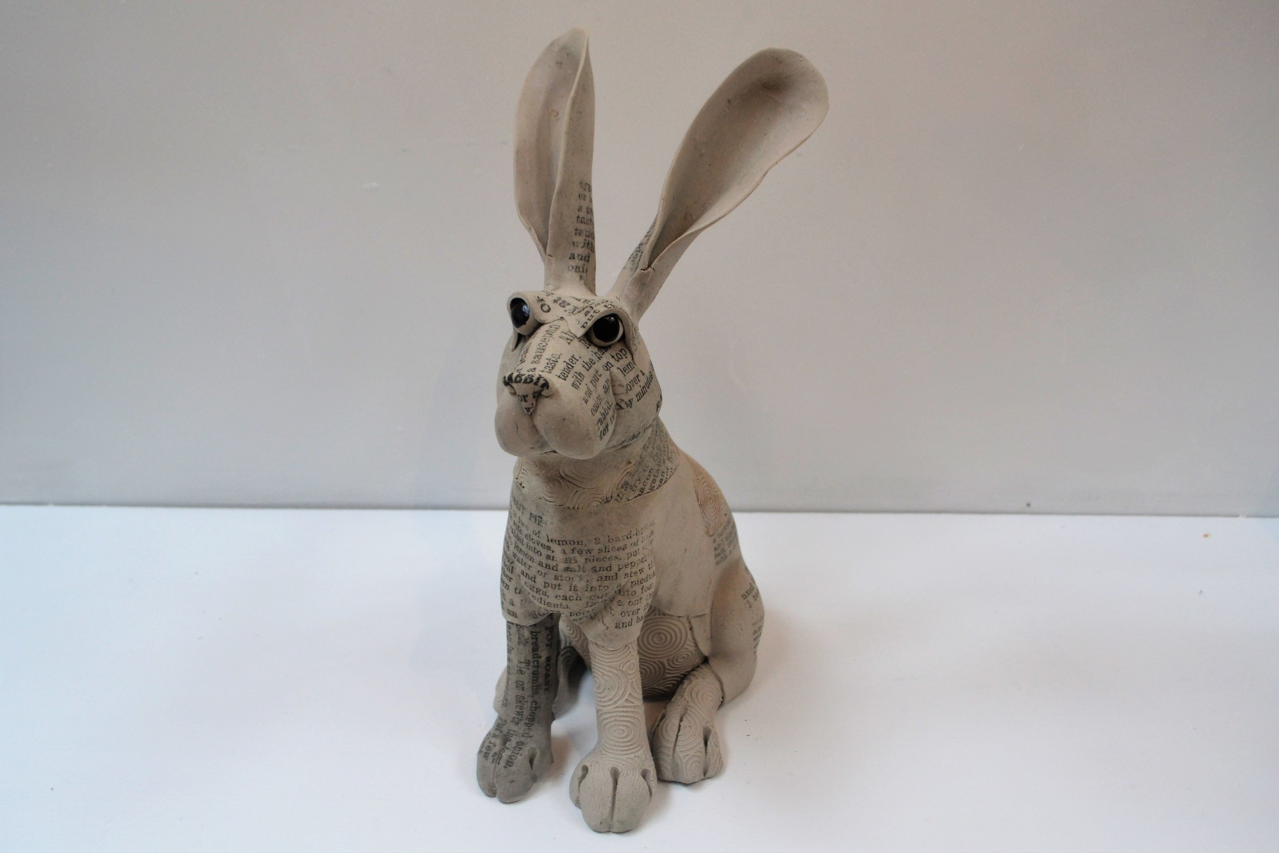 Small Recipe Rabbit I  Fiona Tunnicliffe, hand formed ceramic sculpture, 320mm height  sold