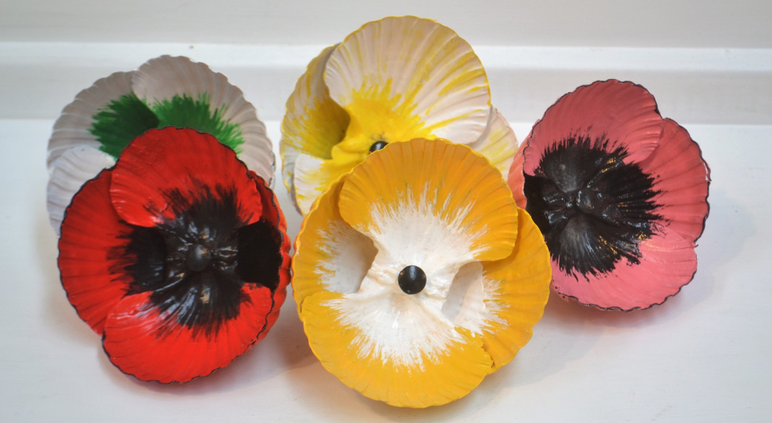 Large Poppies  Fay Clarke, painted scallop shell fixed to metal rod  $25.00 ea or    enquire    for multiples