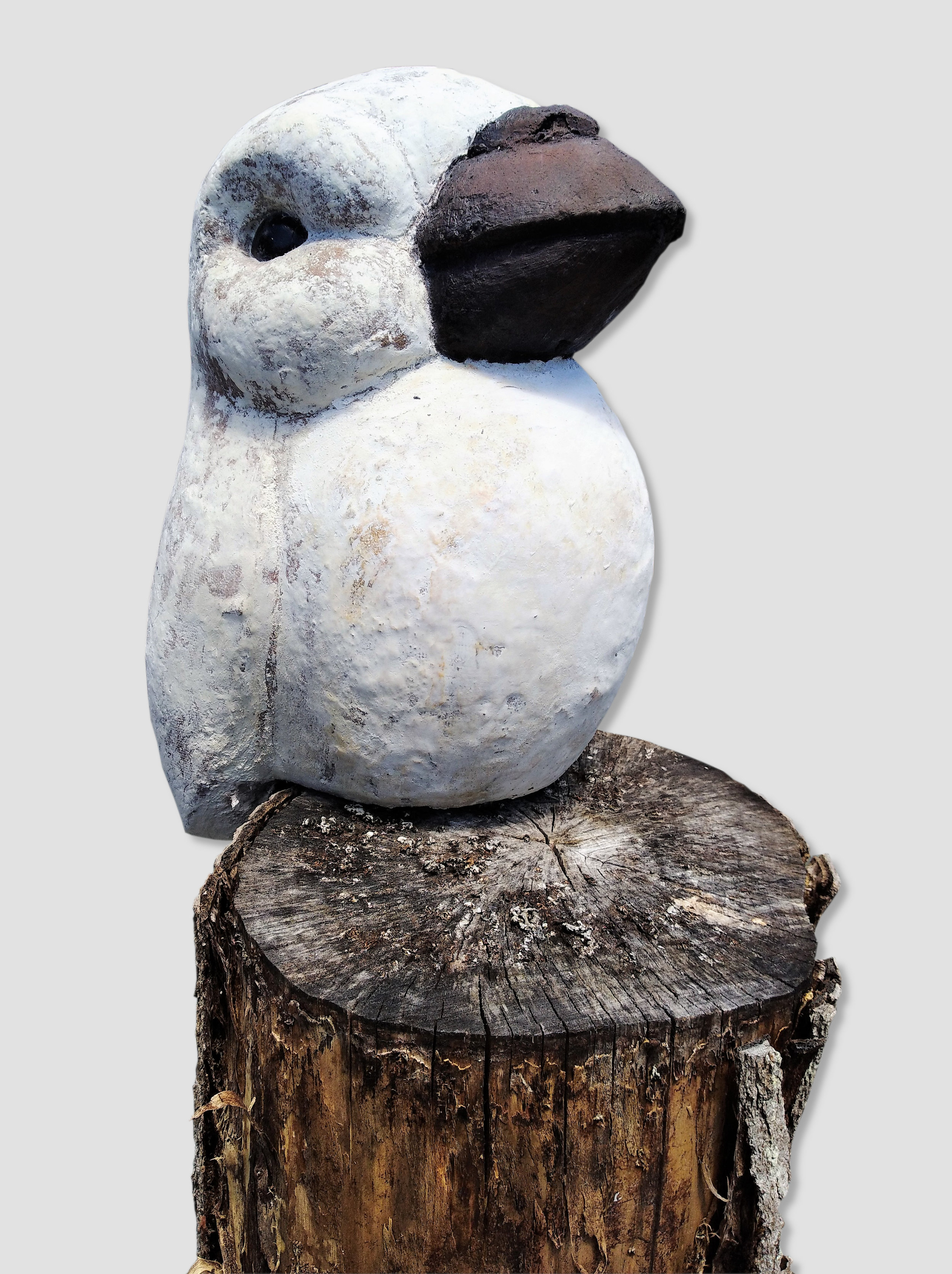 Puffin Bird  John Phillips, artis fiberclay, indoor/outdoor, stump for display only, mounted on peg (inc.)  $390.00