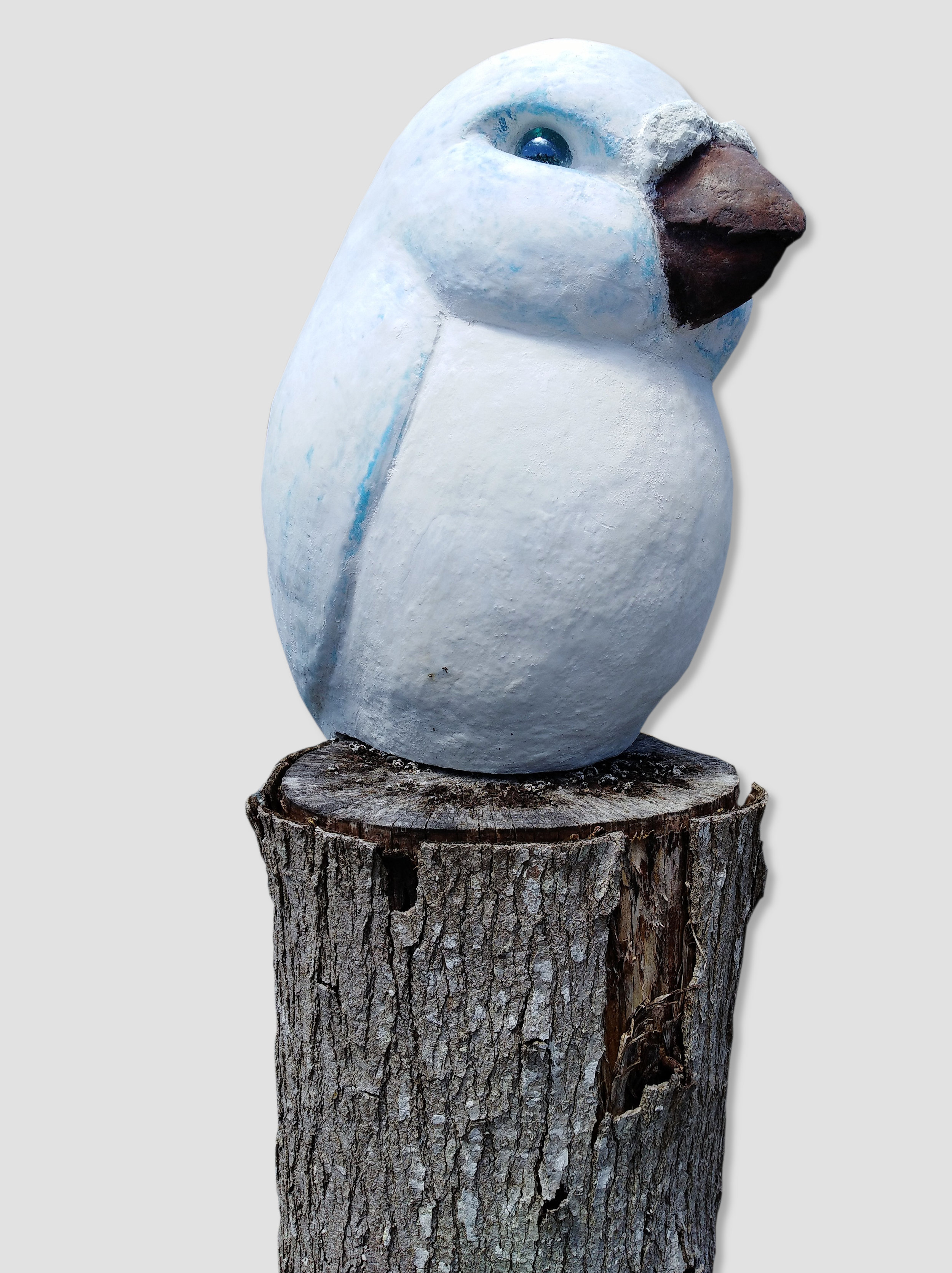 Big Bertha (Blue & Grey)  John Phillips, artis fiberclay, indoor/outdoor, stump for display only, mounted on peg (inc.)  $490.00
