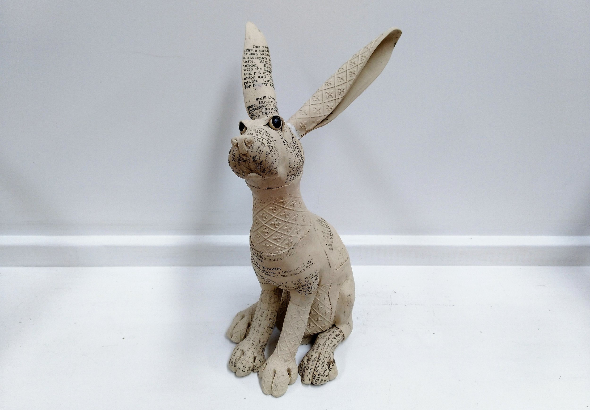 Large Recipe Rabbit  Fiona Tunnicliffe, hand-formed ceramic sculpture,  sold