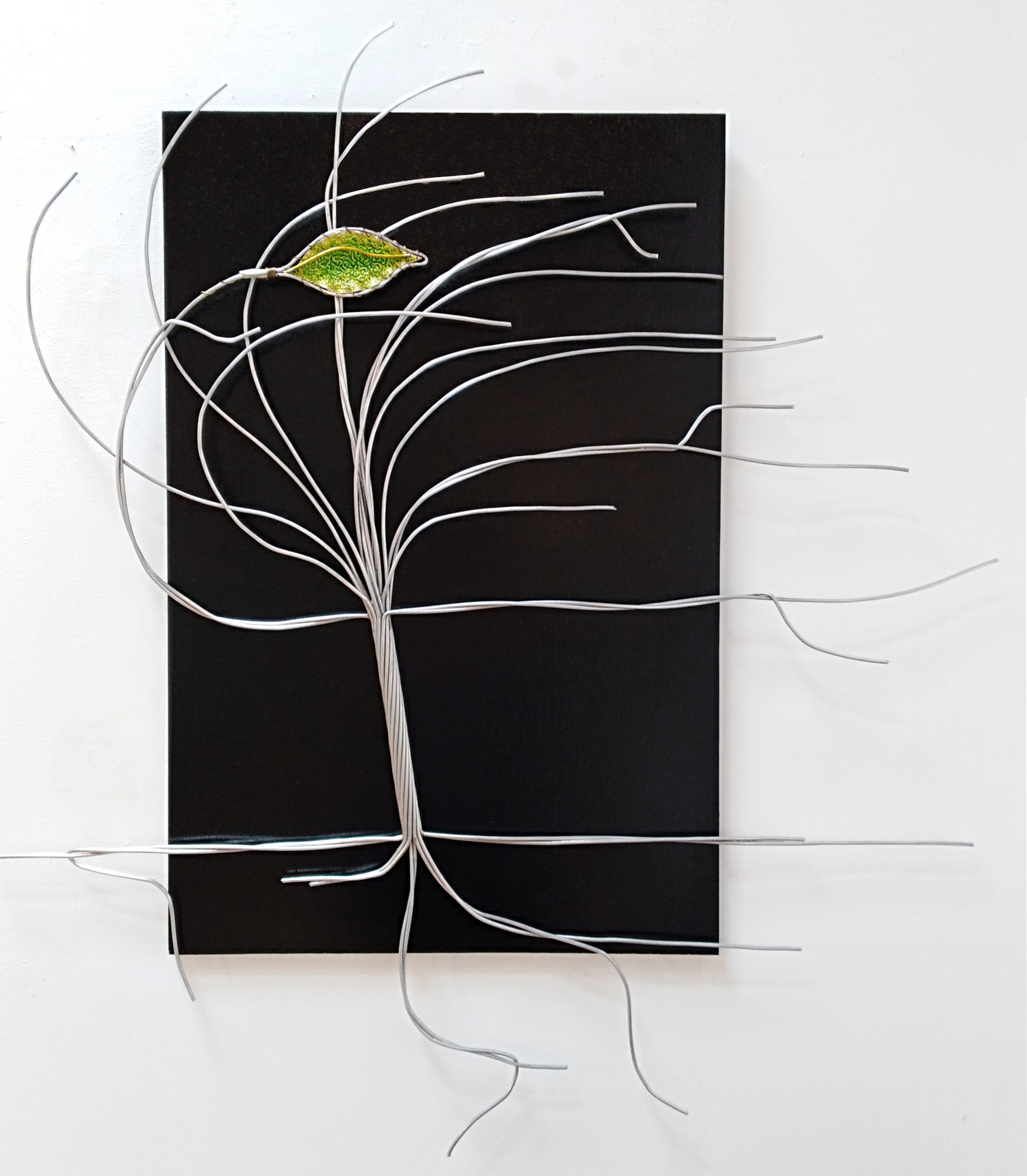 New Life  Wally Pritchard, wire + copper + board hanging wall sculpture, 1200mm x 1100mm  $980.00