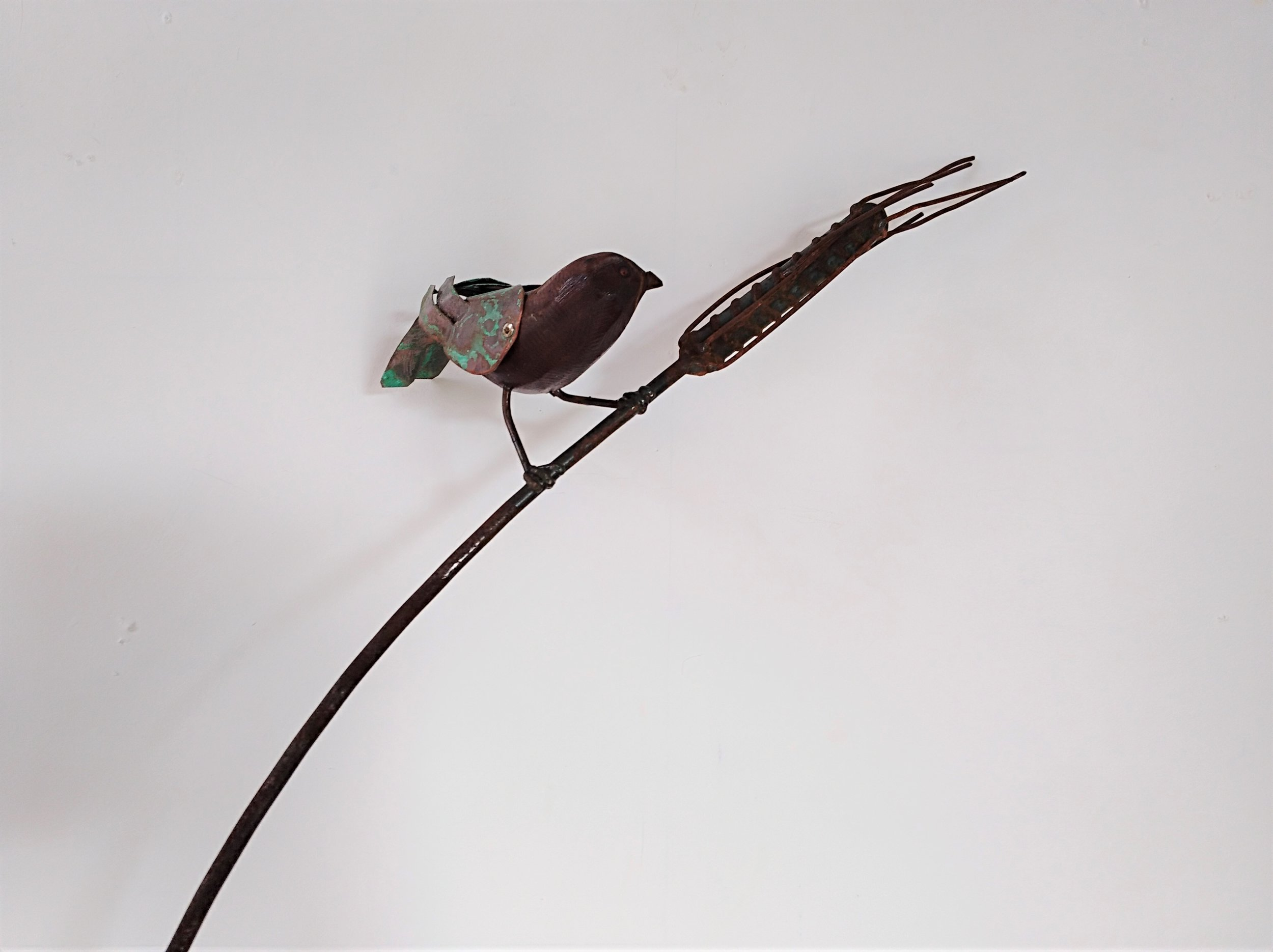 Stem Sparrows   Mark Dimock, copper + wood + steel garden sculpture (rod pushes into ground)  unavailable