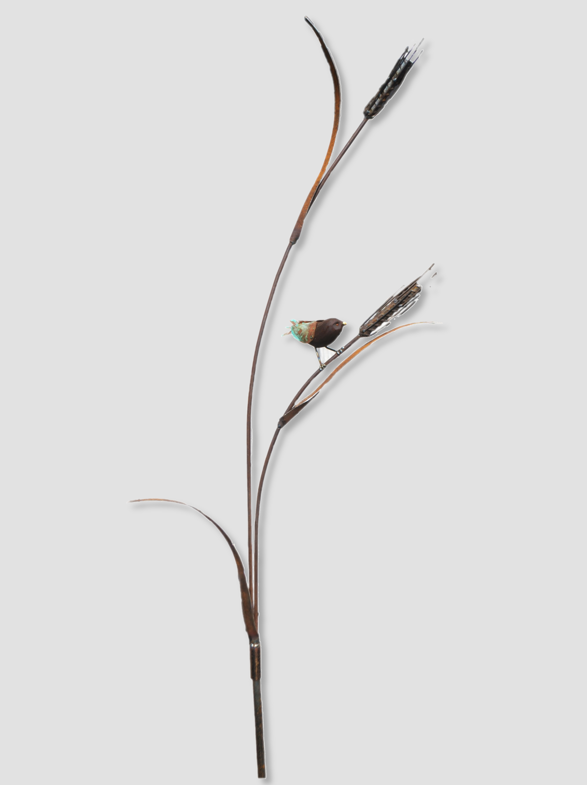 Wheat Sparrow (one available)  Mark Dimock, steel & copper outdoor sculpture (two parts)  $425.00