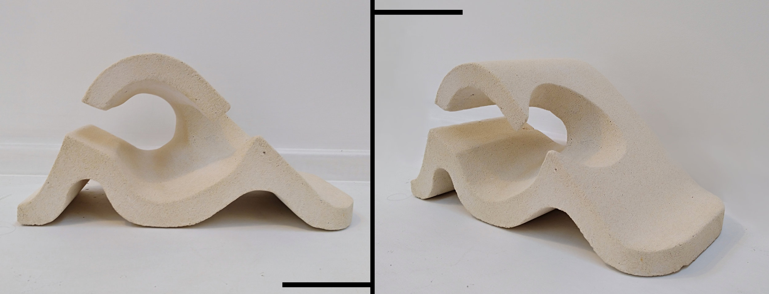 Broken Wave  Fraser McRae, unsealed White Oamaru Limestone, indoor/outdoor (if used outdoor, we recommend sealing with a silicone or water-based stone sealant), 340mm x 160mm  $450.00