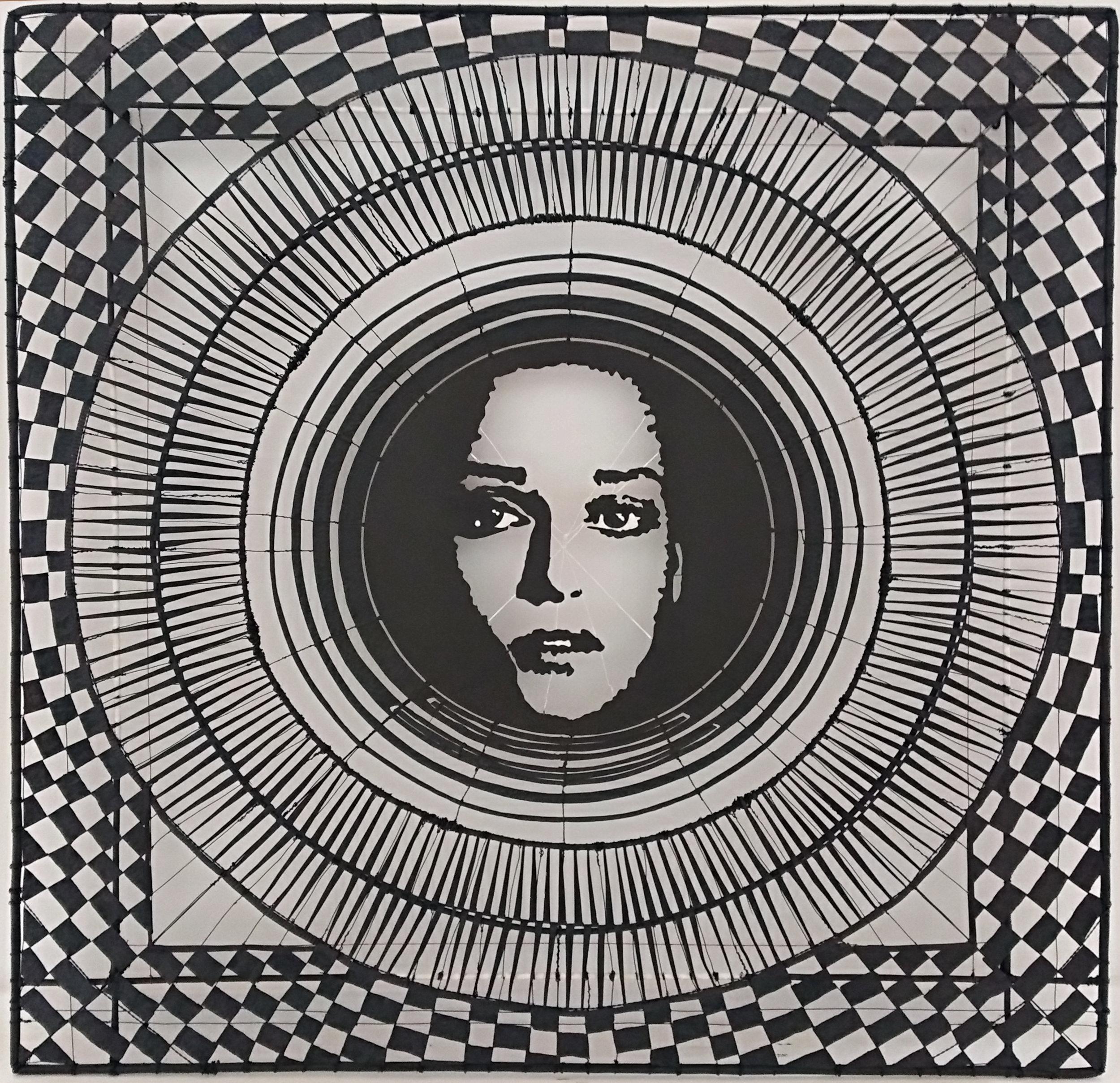 Portrait of an Unknown Woman V Rudy van der Pol, wire wall screen, 1110mm x 1115mm $5,900.00