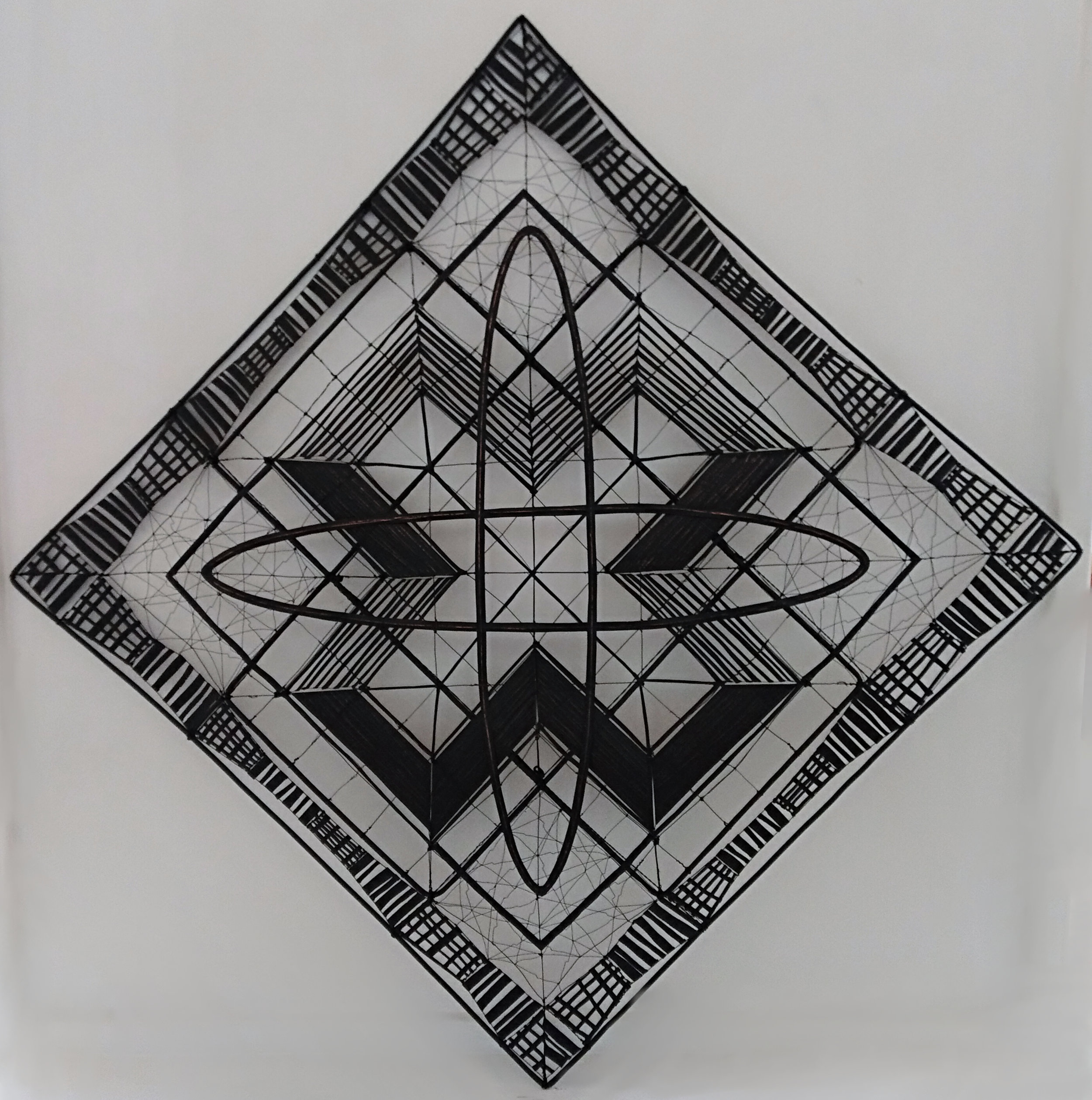 Criss Cross Rudy van der Pol, wire wall screen, 940mm x 940mm (can be hung as a square or diamond) $4,550.00