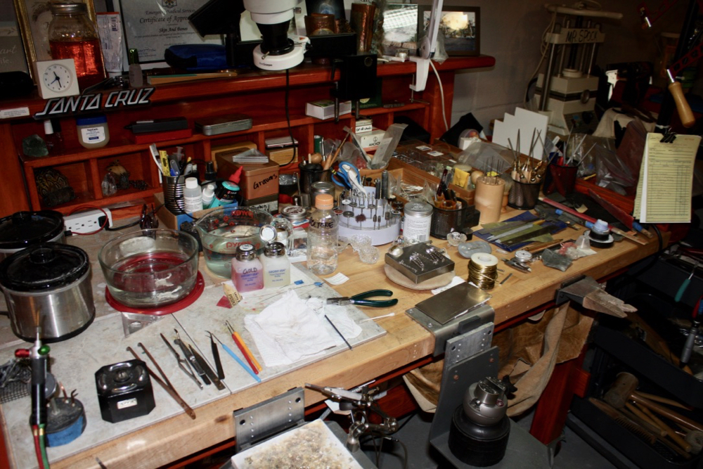 My workbench - a little more organized than usual! I won't show you today's image! :)