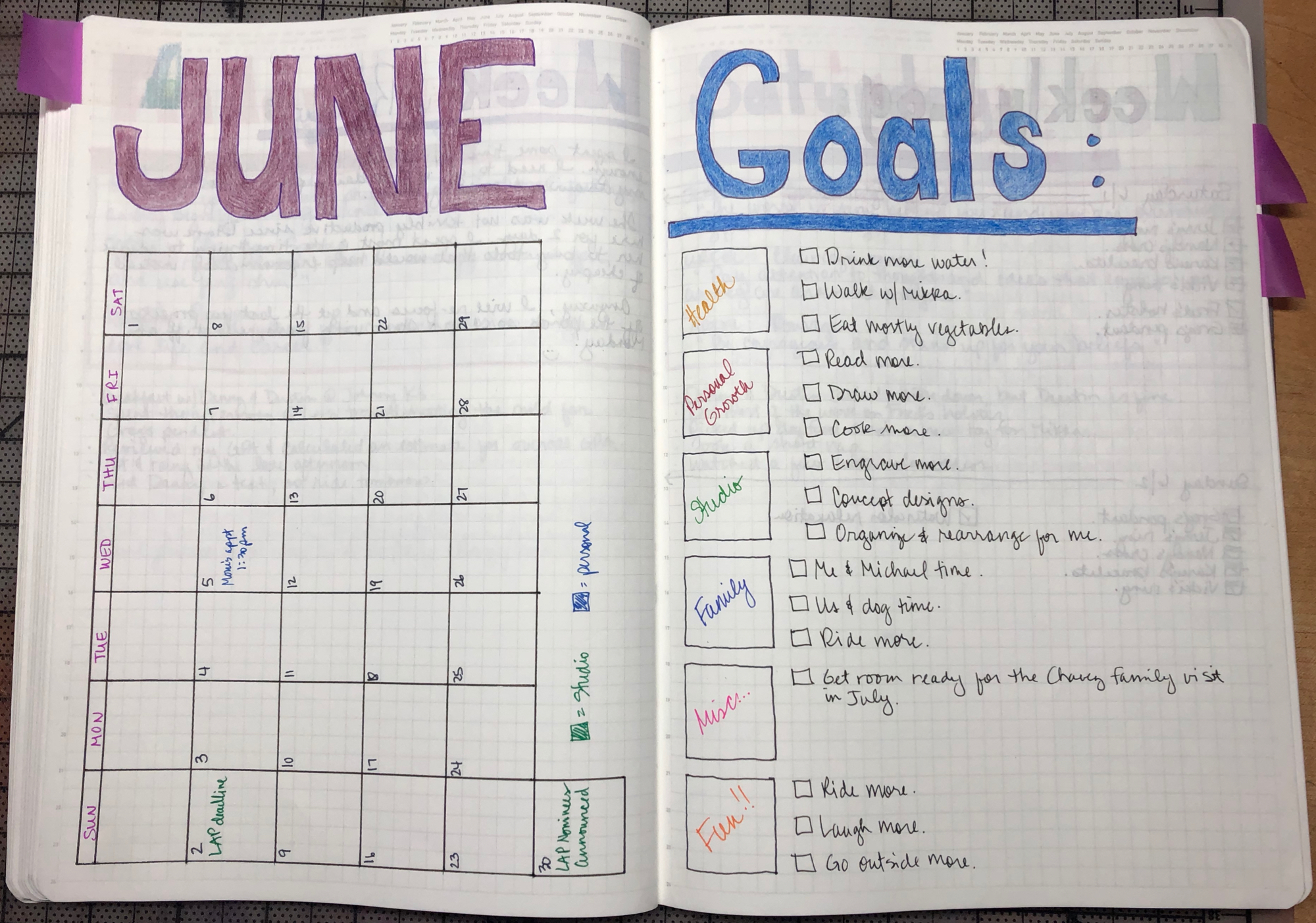 Monthly overview page with a sampling of goals I'd like to meet for the month of June.