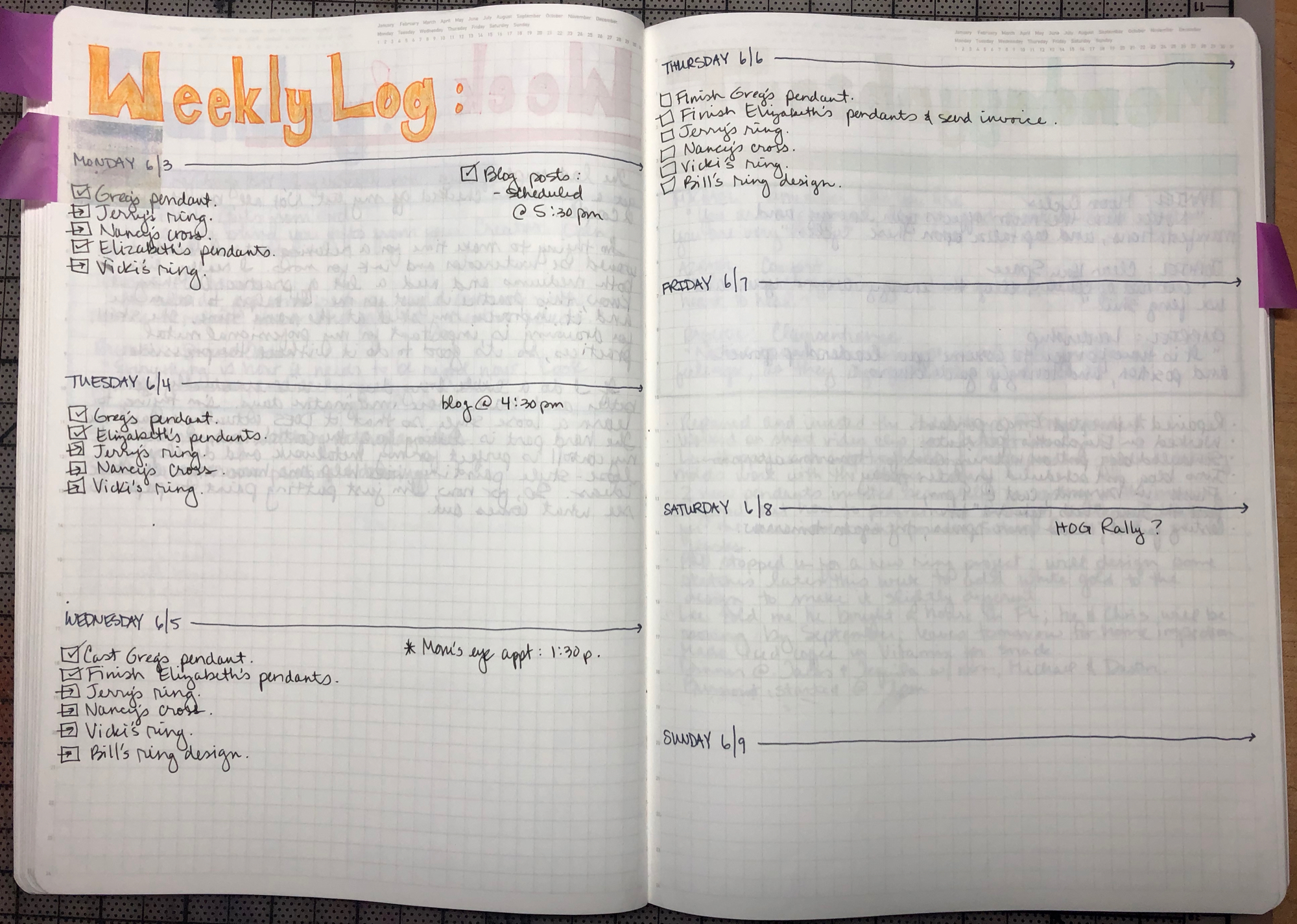 Weekly Log layout pages.