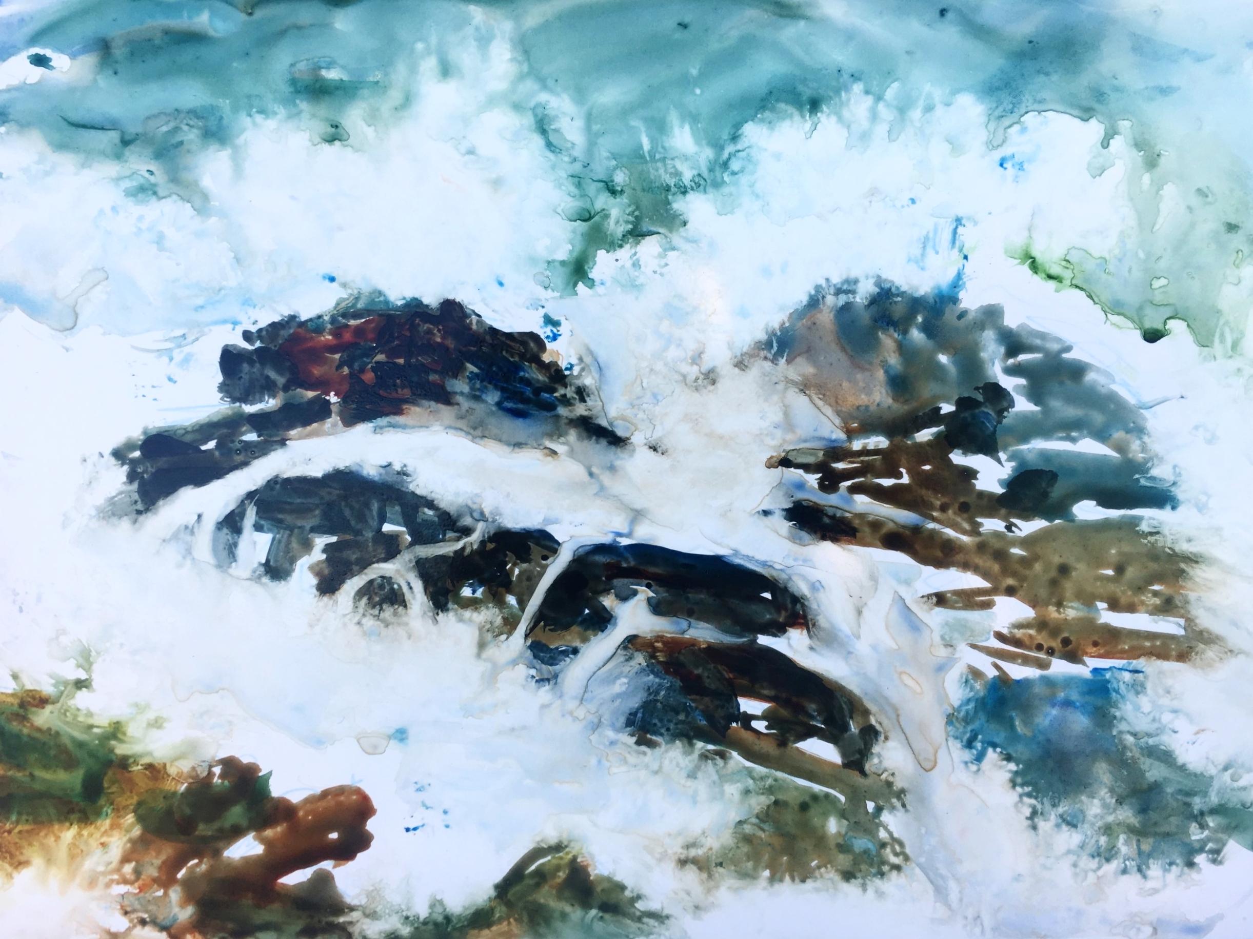 High Tide, Cambria, Watercolor on Yupo