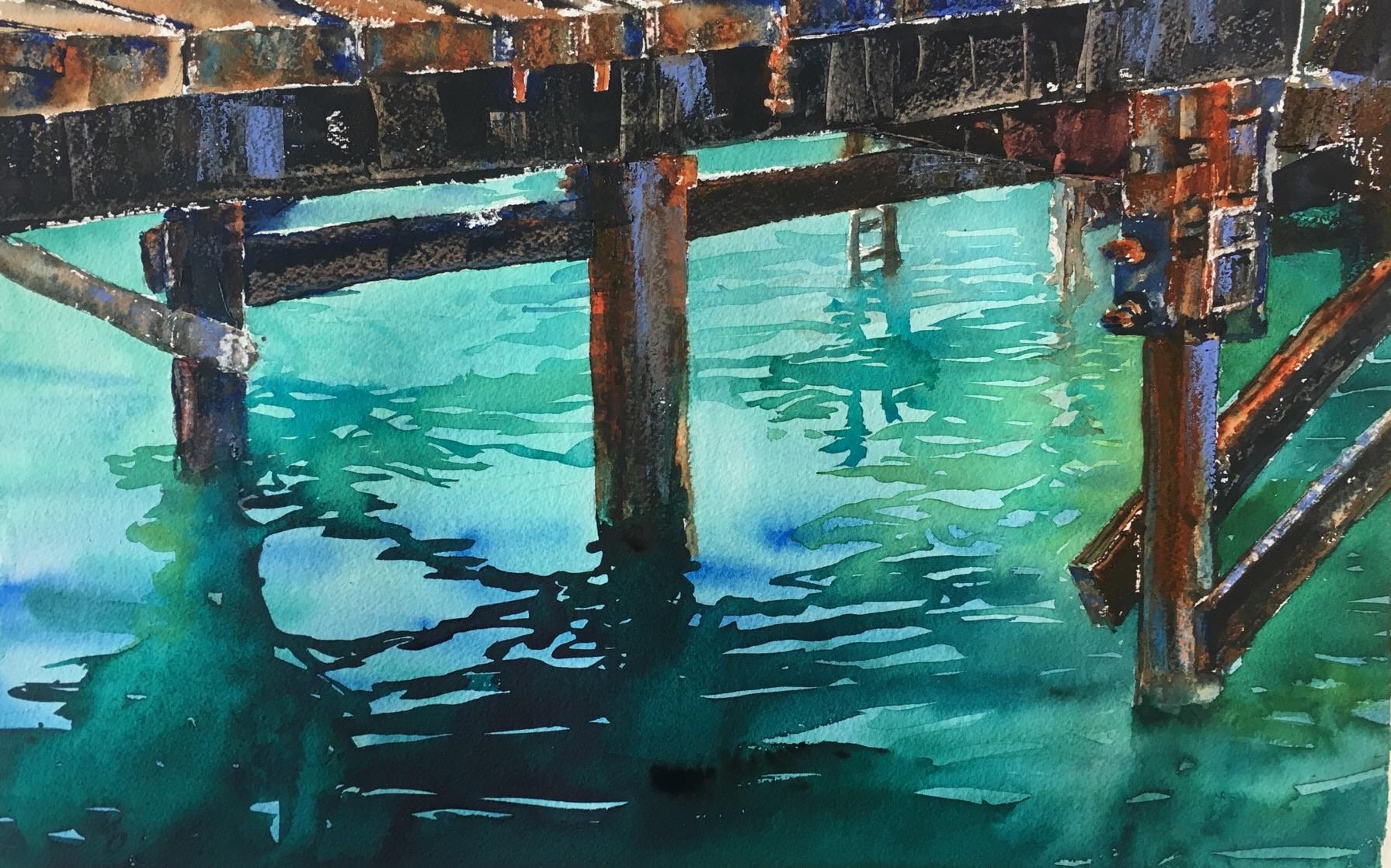 """Under the Pier (15""""x22"""")"""