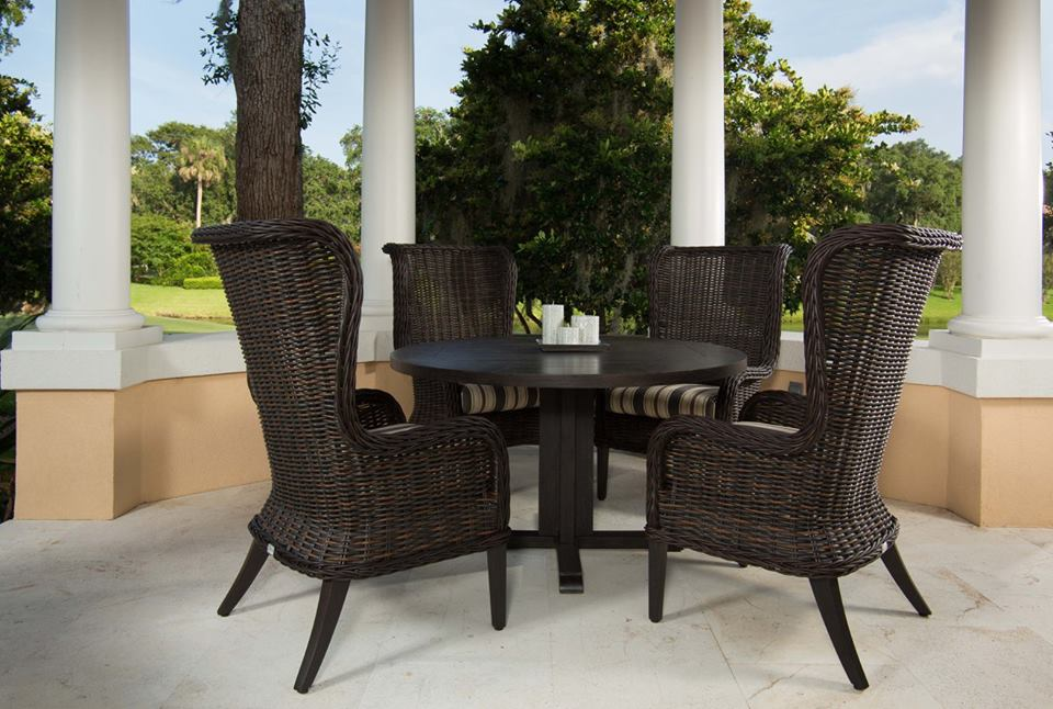 Bellevue host chairs in Chestnut with a Portofino dining table.jpg