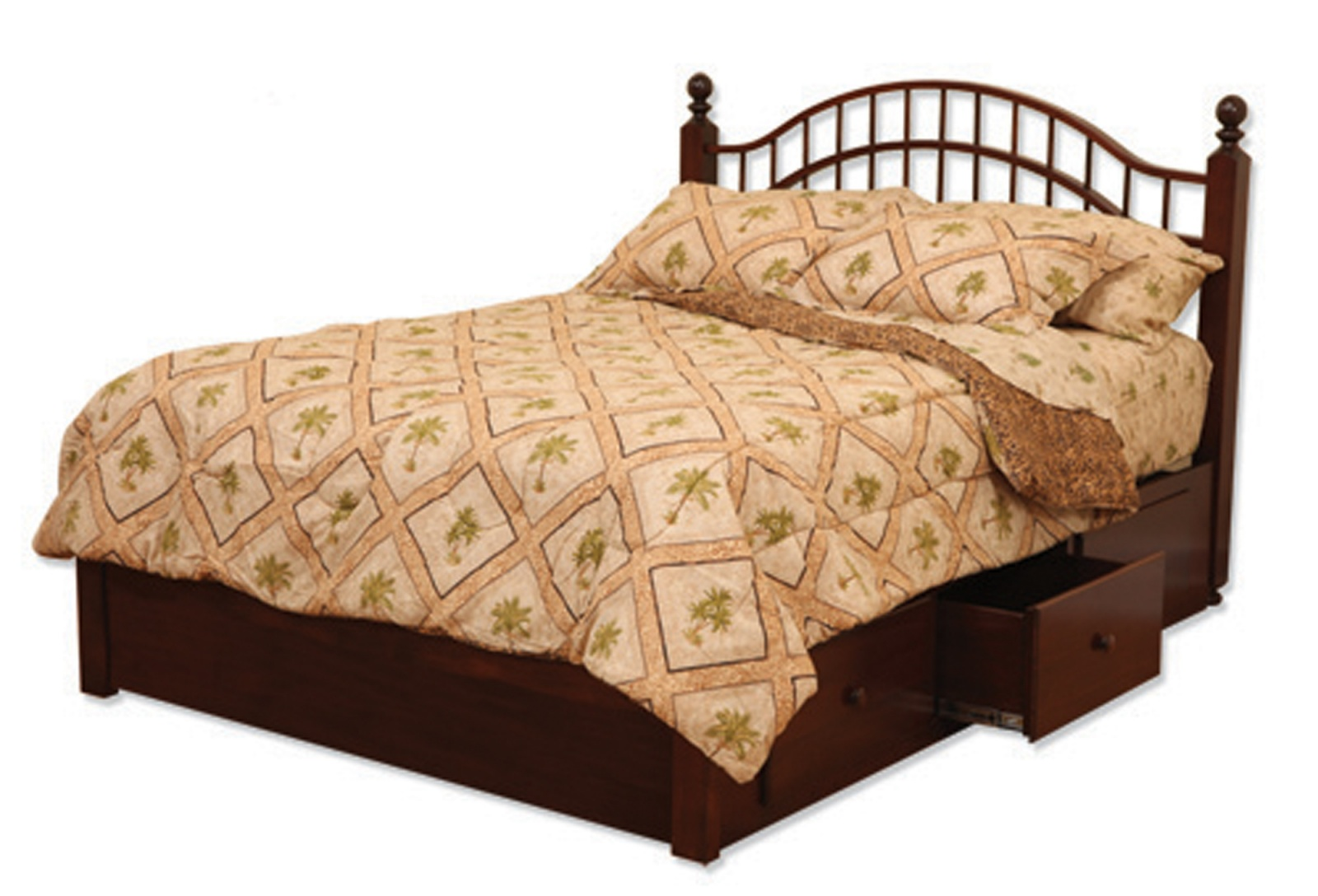 Double Bow Bed with Storage Rails