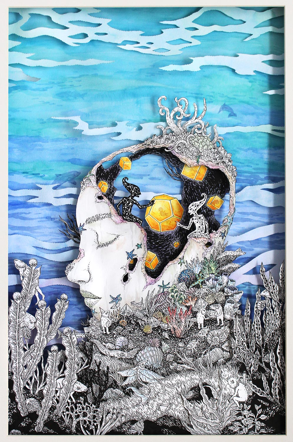 Submerged Dreams , Faber-Castell PITT pen and watercolour on layered paper cutout, 59.4x42cm, 2016, Young Art Taipei Expo 2016