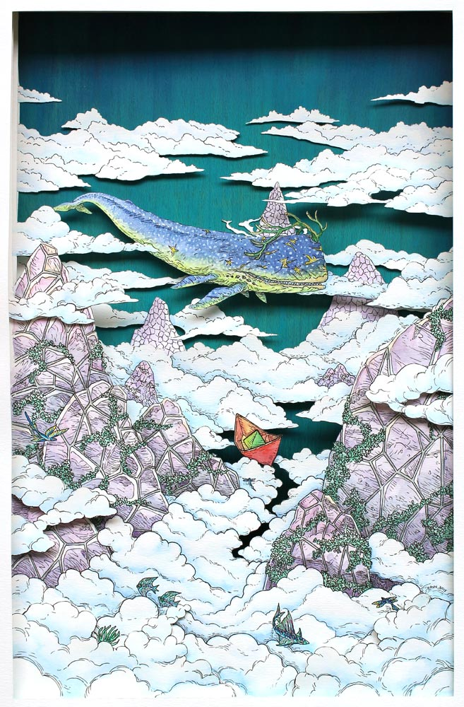 In the Clouds , Staedtler pigment liner and watercolour on layered paper cutout & acrylic on wood, 42x29.7cm, 2015, AB+C Art Charity Auction, George Town, Penang, private collection