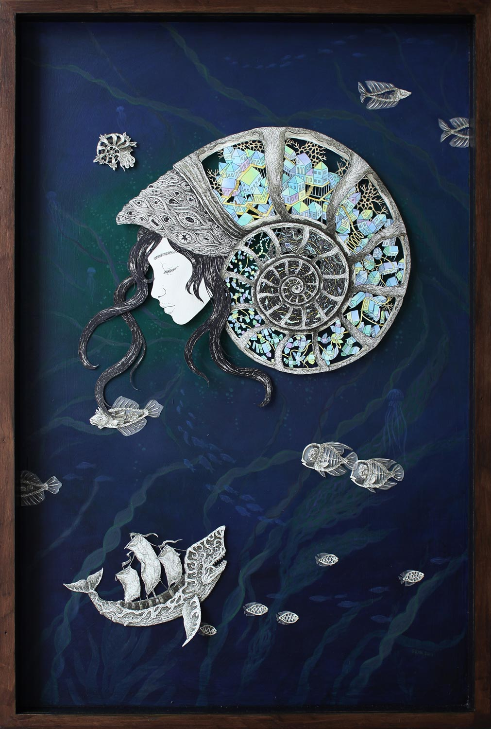 Memory , Staedtler pigment liner and watercolour on layered paper cutout & acrylic on wood, 92x61cm, 2015, ELUSIVE exhibition 2015, private collection