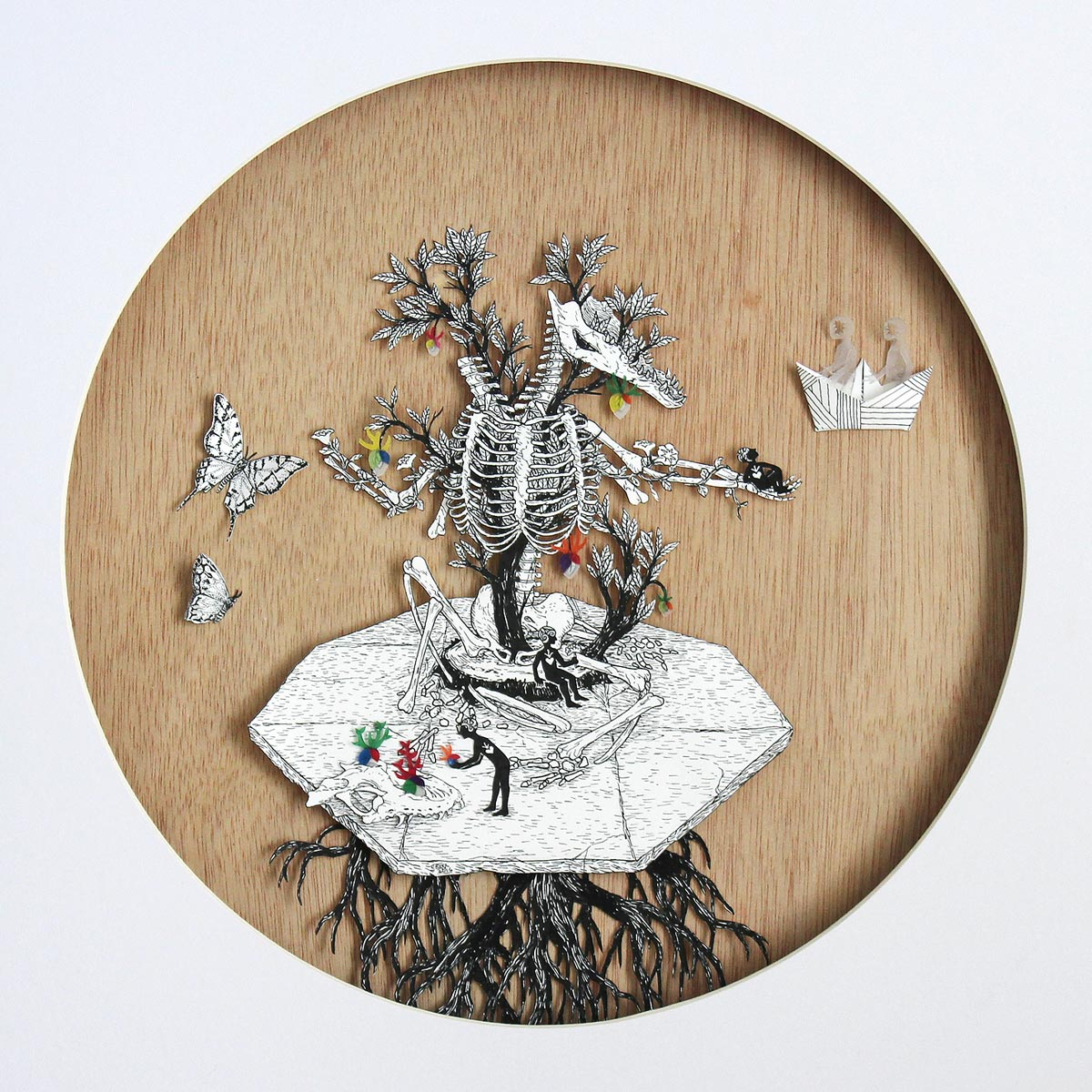 Vice and Versa (diptych 2) , Faber-Castell PITT pen on layered paper cutout on wood, 50x50cm, 2016