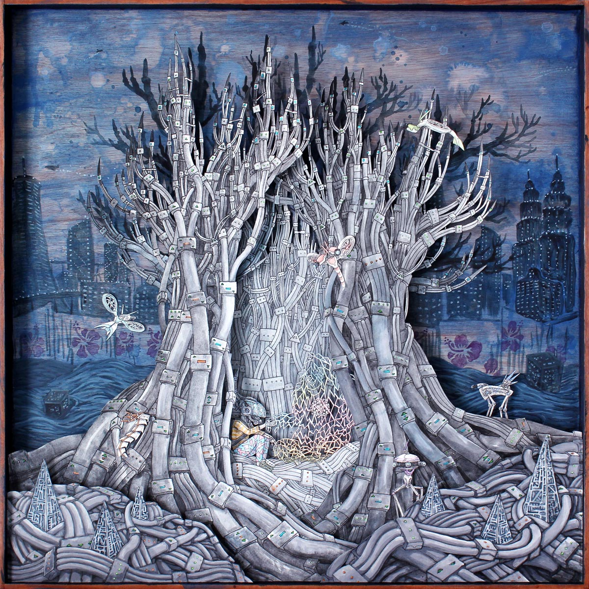 Tree of (Future) Life , Faber-Castell PITT pen and watercolour on layered paper cutout & acrylic on wood, 60x60cm, 2057: Malaysia in the Future exhibition, 2016, private collection