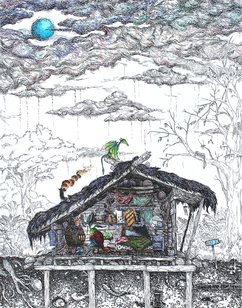 Melancholy Dragon Hut , pigment marker and ballpoint on A3 paper, 2012