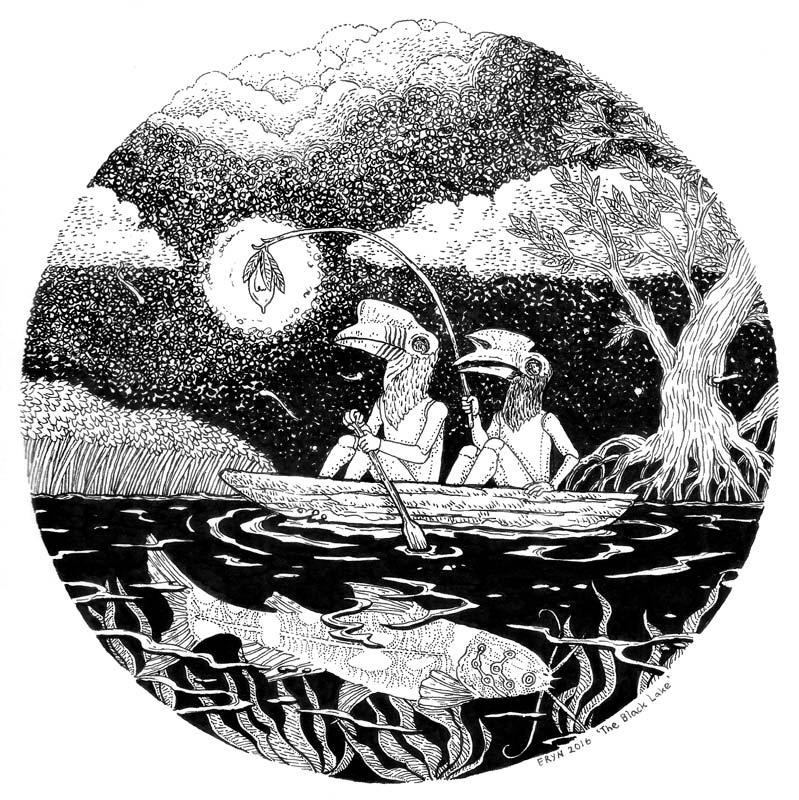 The Black Lake ,drawing on watercolour paper, 23x23cm, 2016