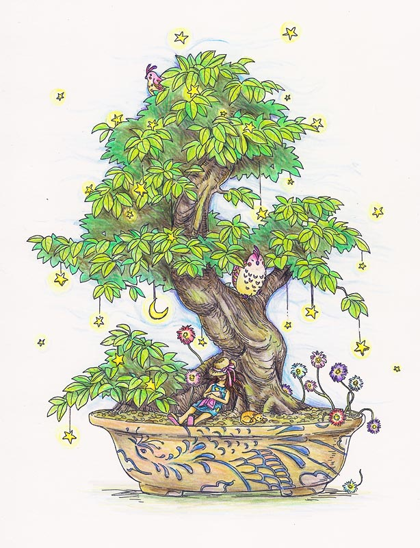 Dreaming Bonsai , pigment marker and colour pencil on A4 card, 2010, sold