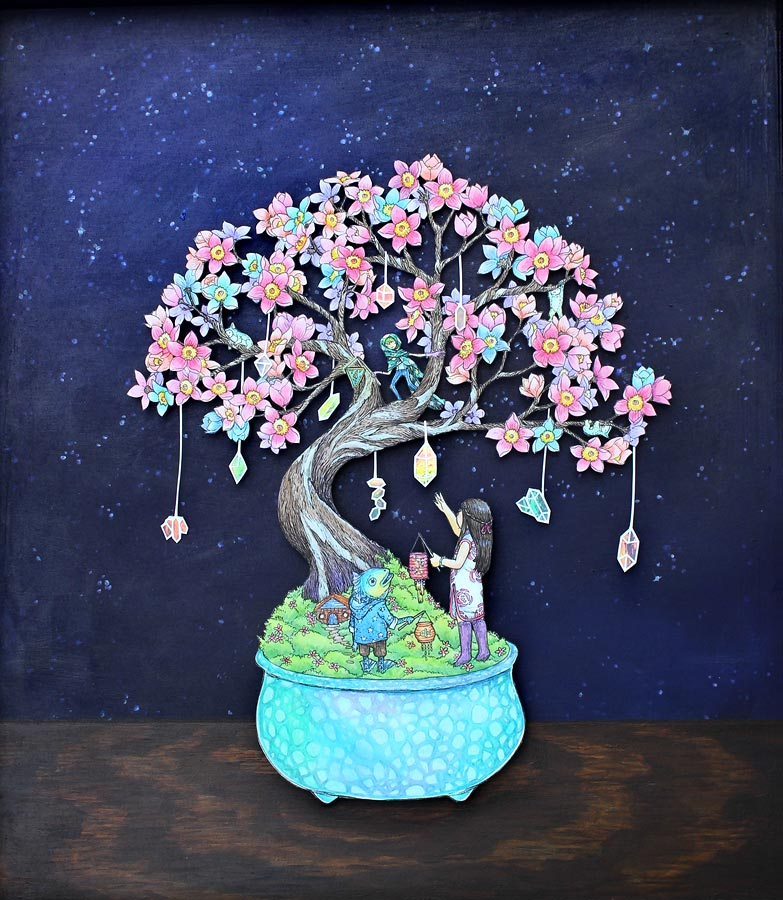 The Crystal Bonsai , pen and watercolour on paper cutout & acrylic on wood, 2016, personal collection