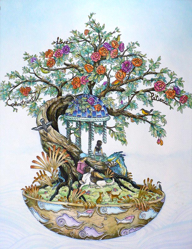 Wishing Bonsai , pigment marker and watercolour on A4 watercolour paper, 2013, commission